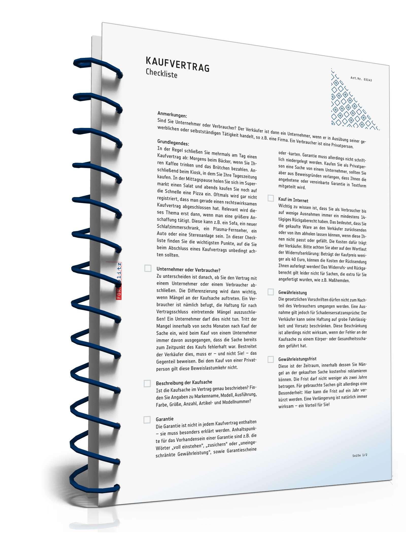 Checkliste Kaufvertrag Checkliste Zum Download