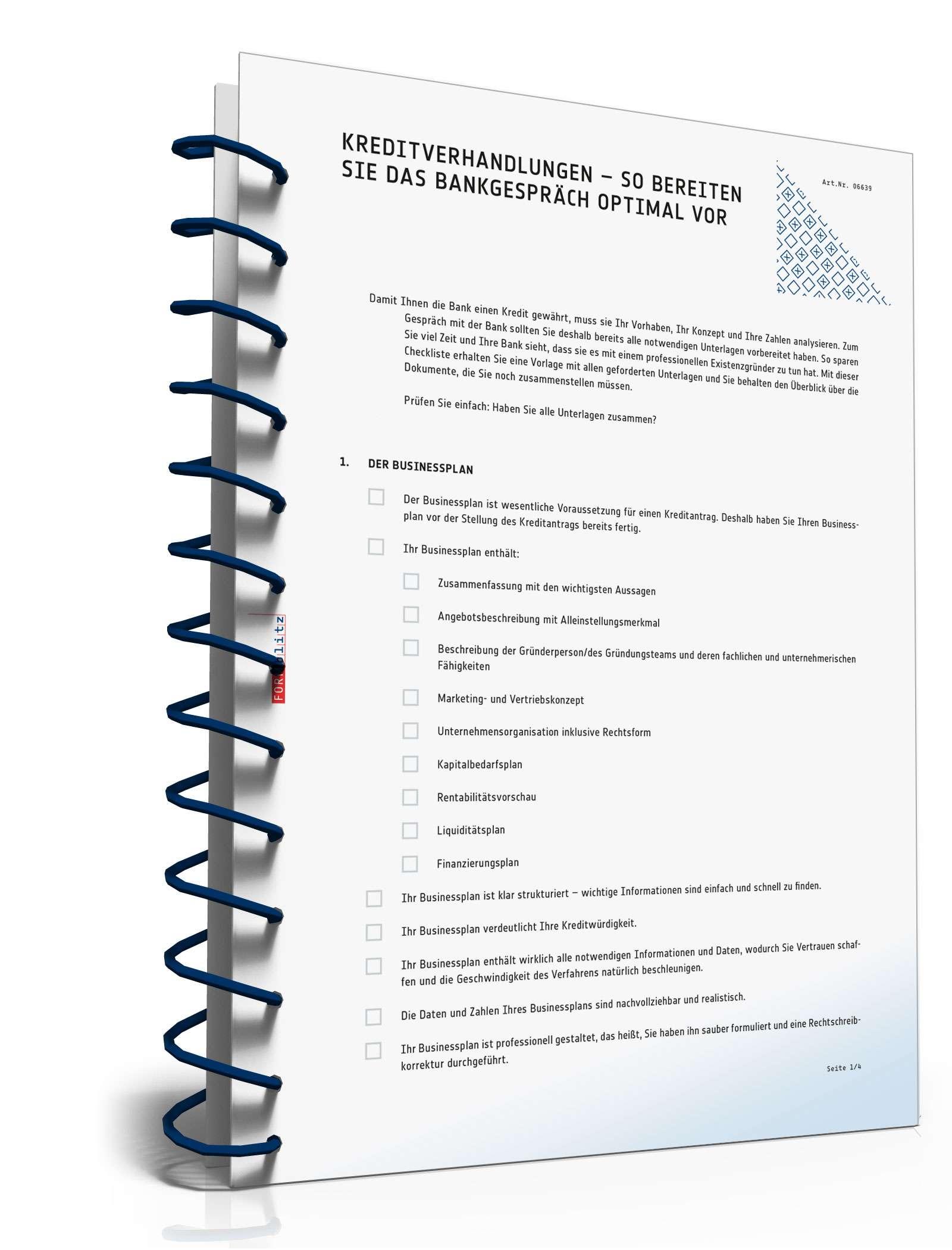 Checkliste Vorbereitung Kreditverhandlung Muster Zum Download