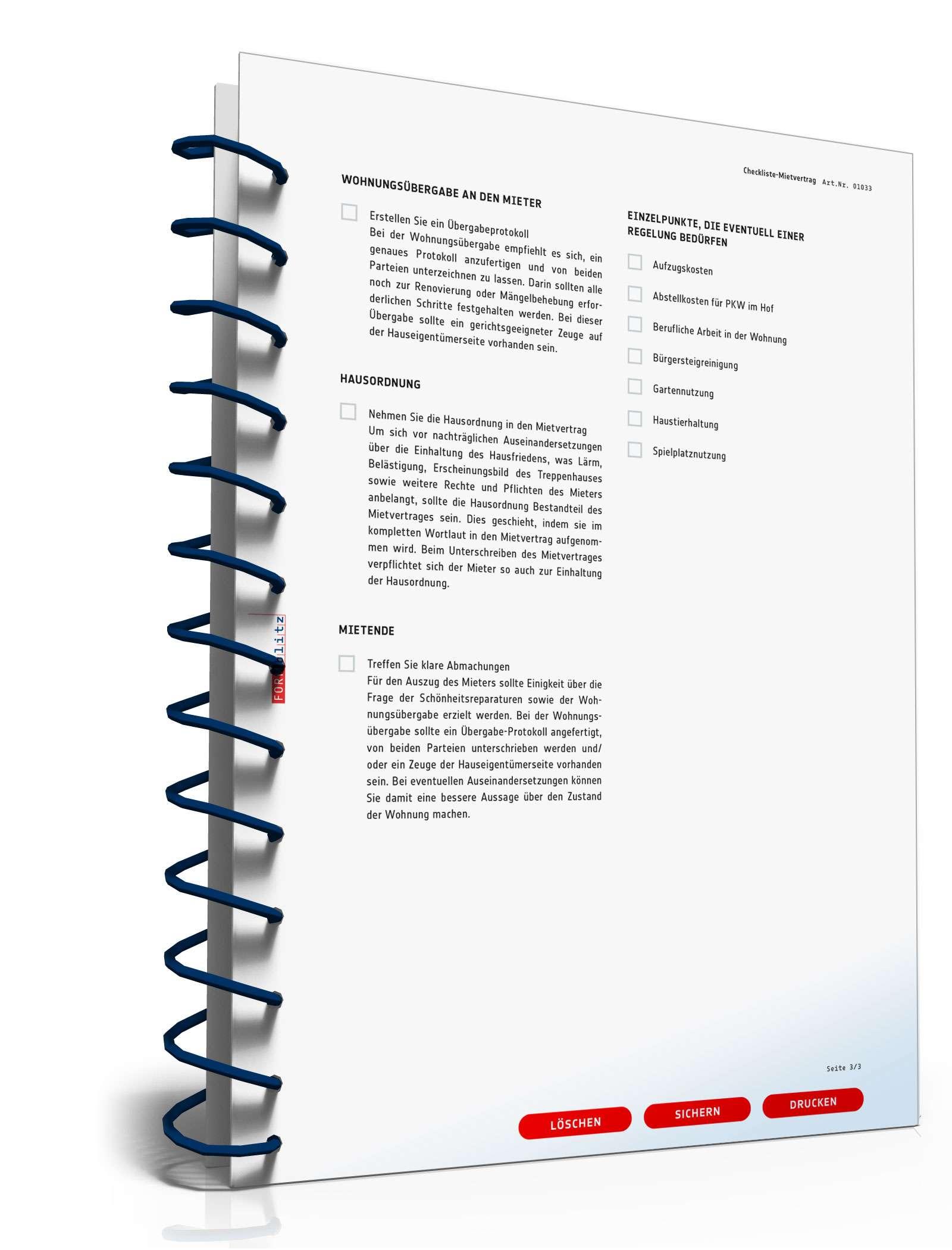 checkliste vermietung vorlage zum download. Black Bedroom Furniture Sets. Home Design Ideas