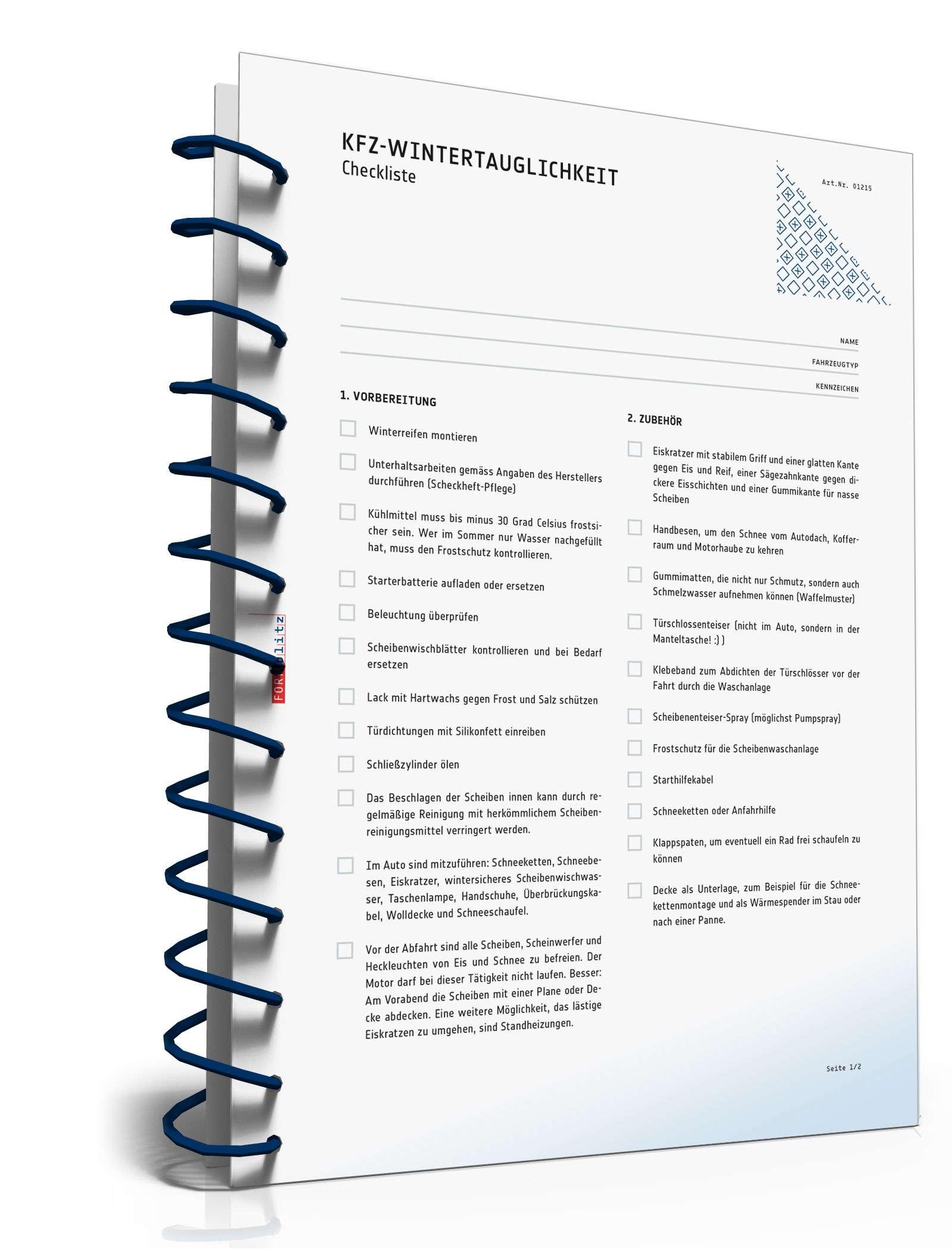 Fahrzeug-Checkliste Winter | Checkliste zum Download