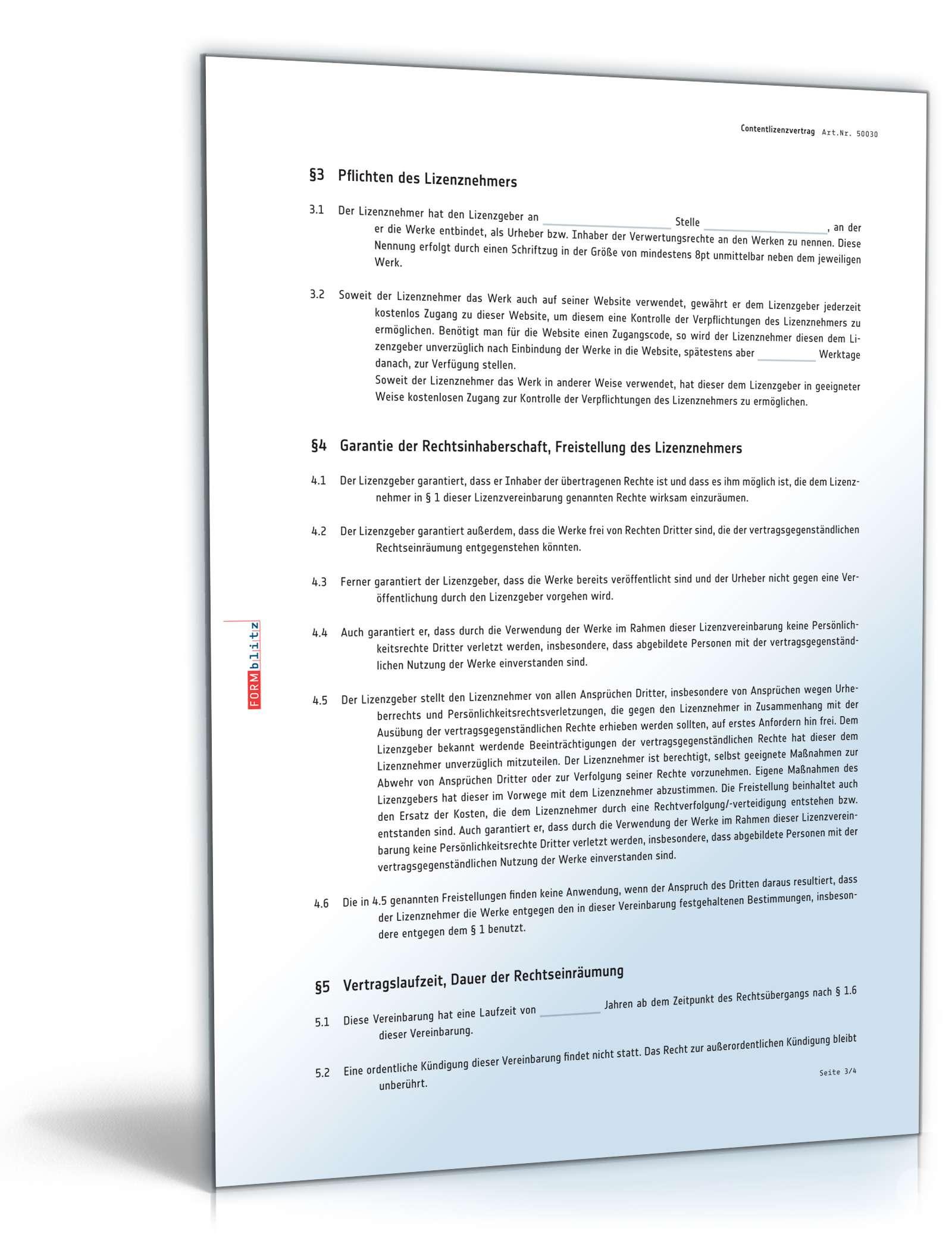 contentlizenzvertrag vorlage - Lizenzvertrag Muster