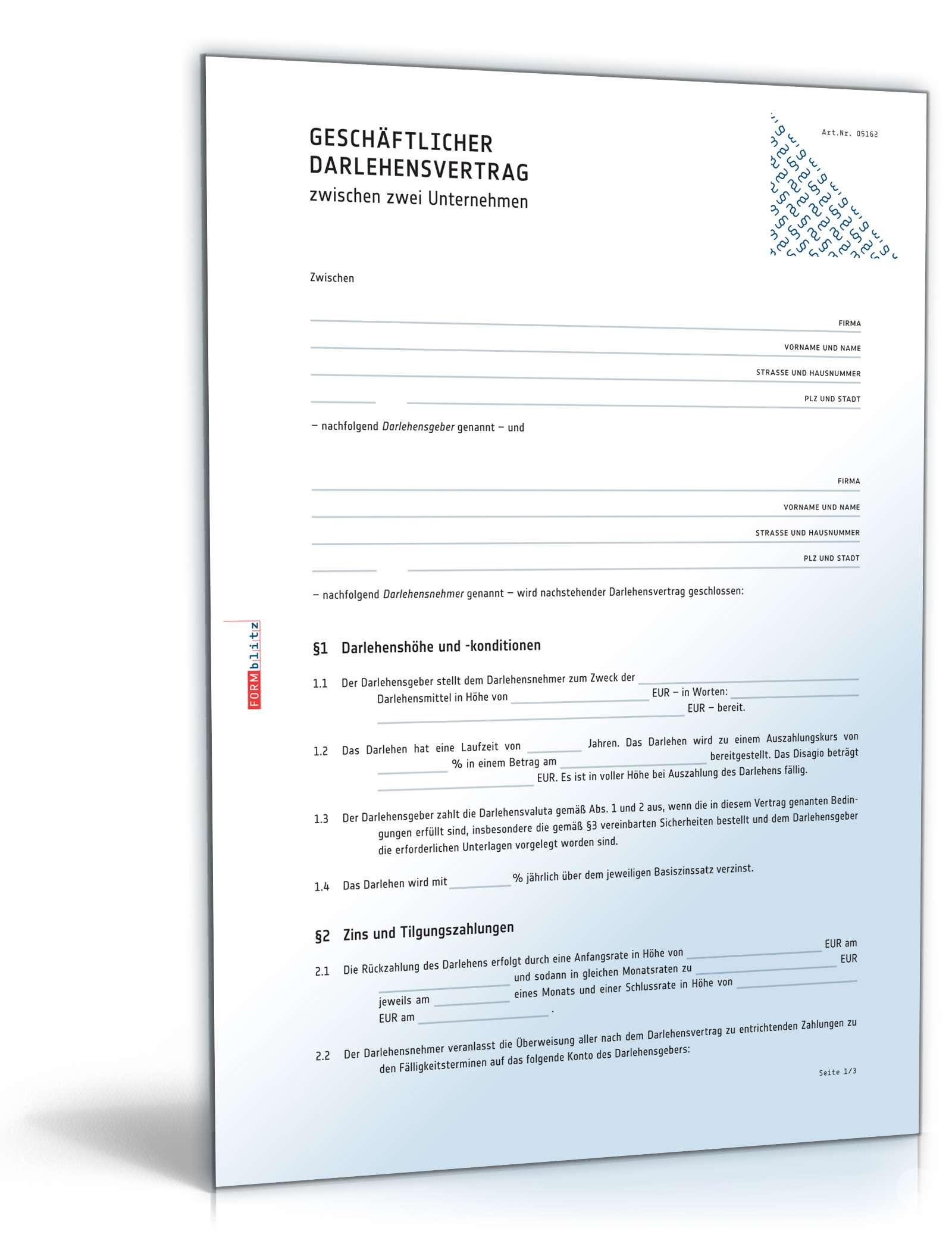 Darlehensvertrag Muster Und Vorlagen