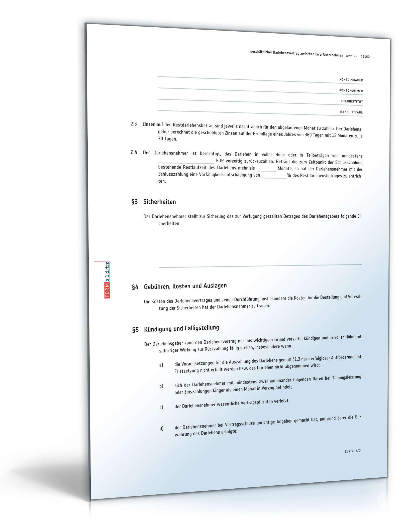 Unternehmer Darlehensvertrag Vorlage Zum Download