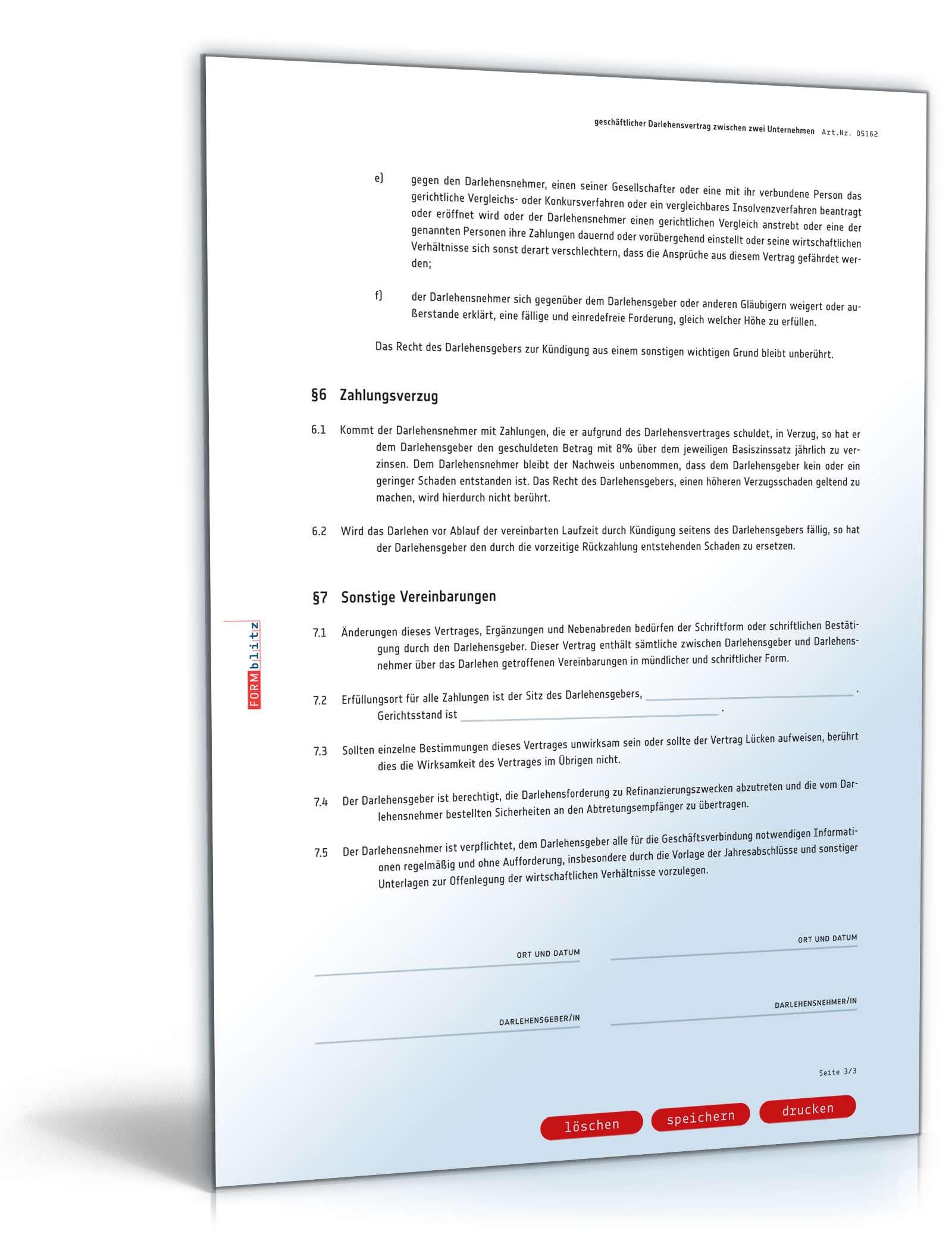 Groß Vorlage Eines Darlehensvertrags Ideen - Beispiel Business ...