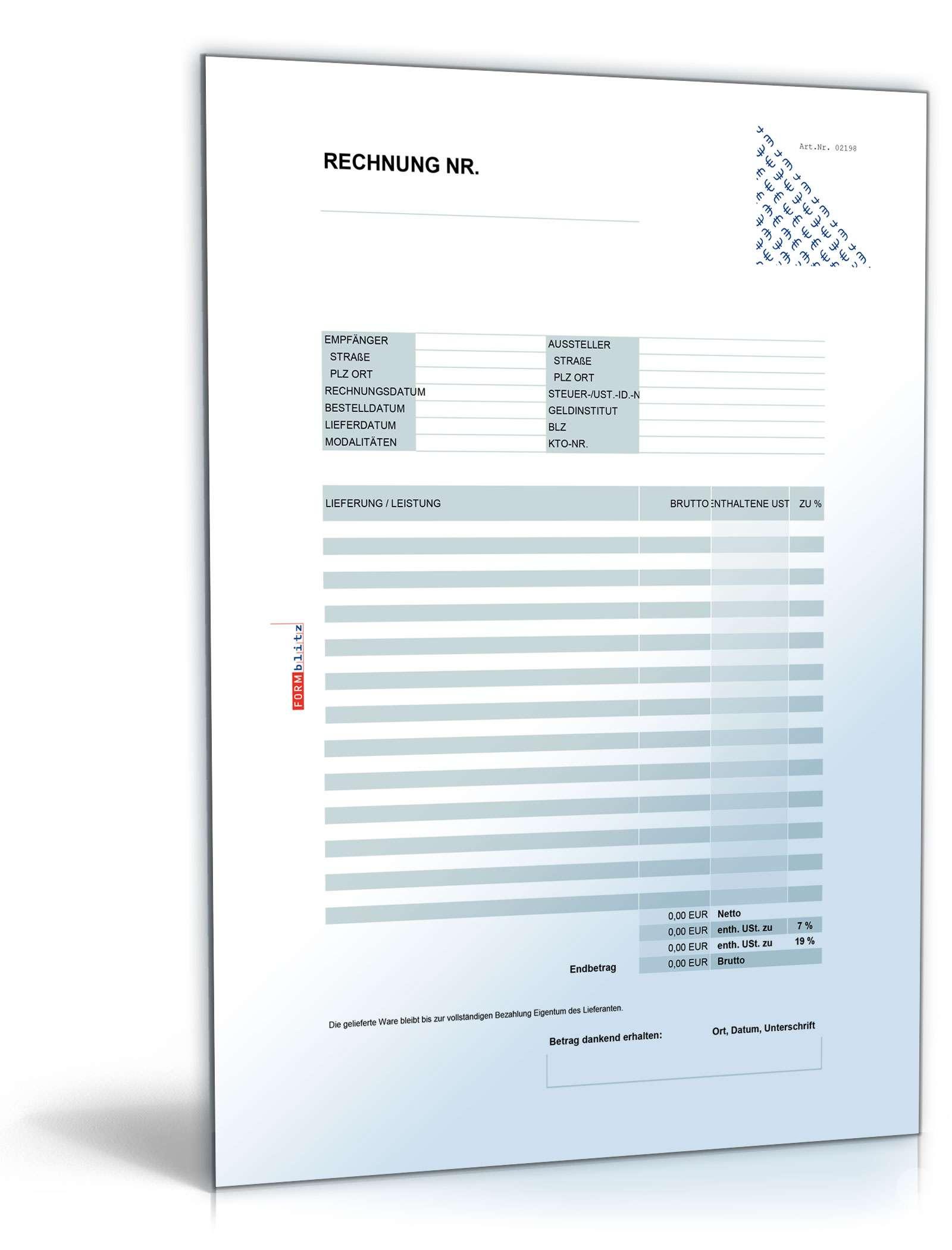 8 Rechnungsvorlagen als Excel-Tabelle | Muster zum Download