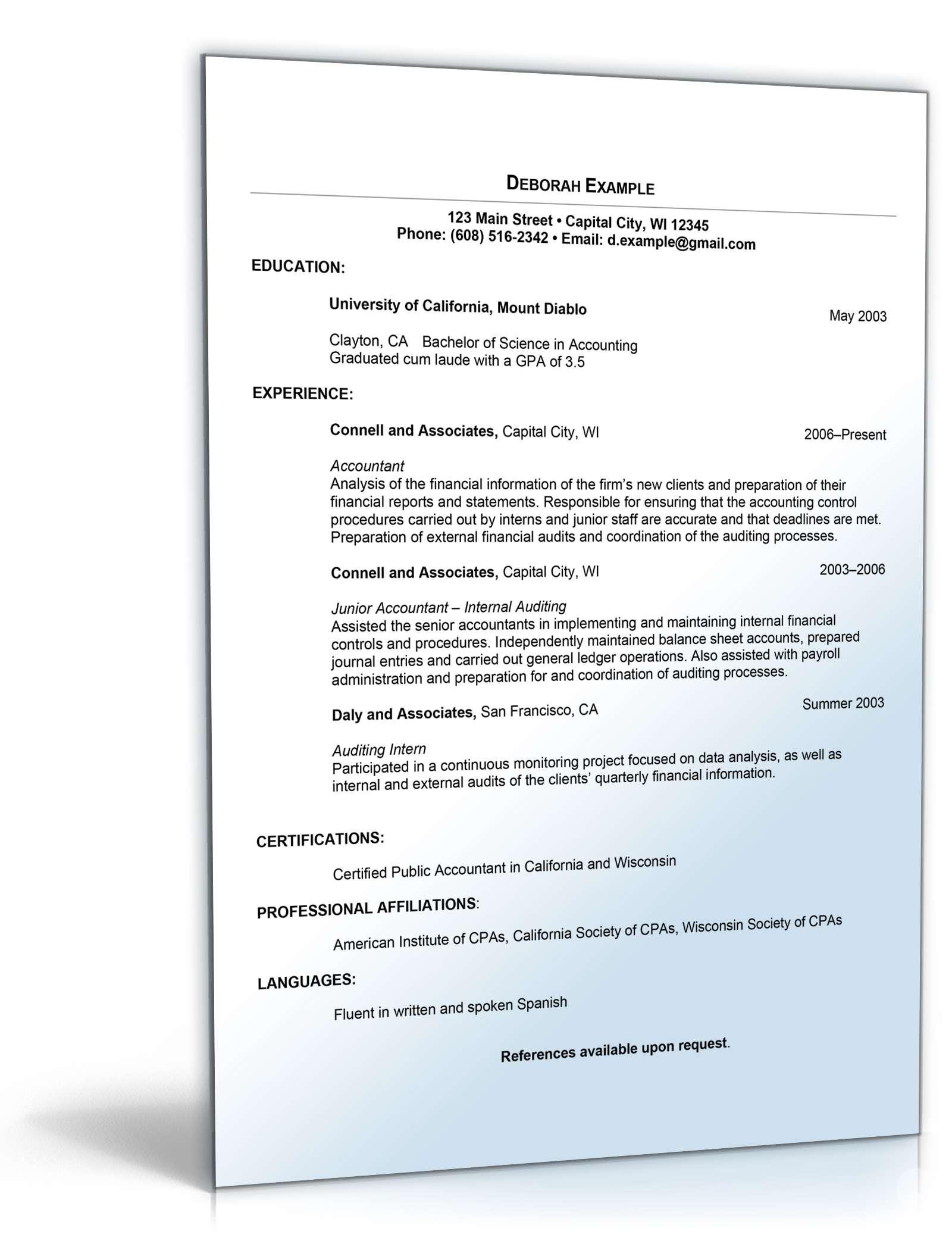 Lebenslauf Buchhaltung Englisch Muster Zum Download