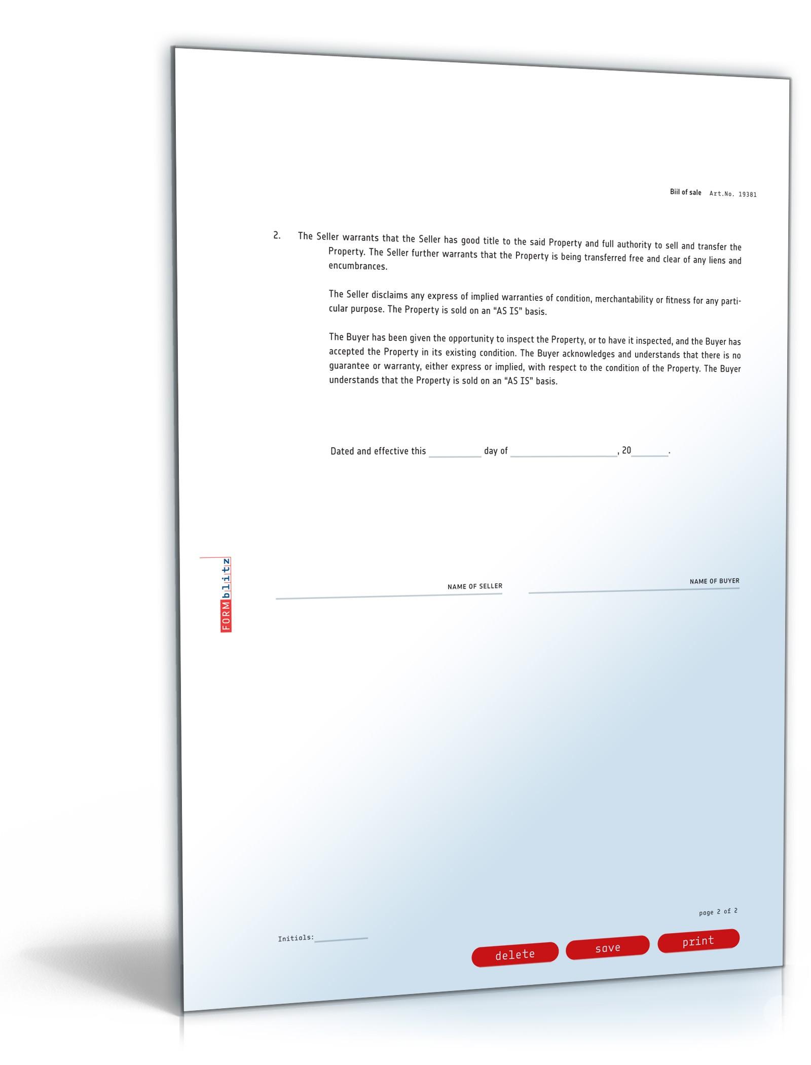 Allgemeiner Kaufvertrag Englisch Vorlage Zum Download