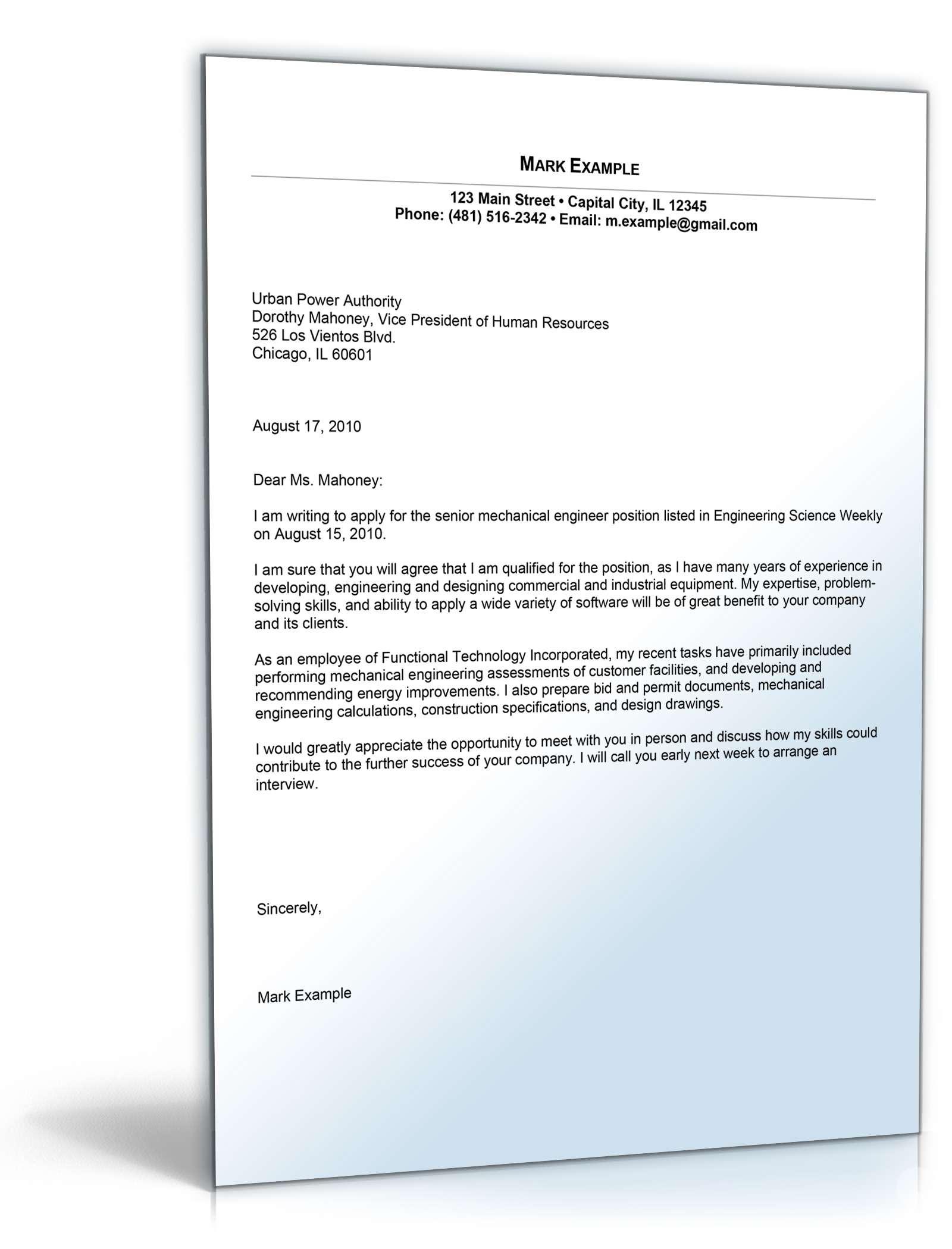 Cover letter auf englisch beispiel