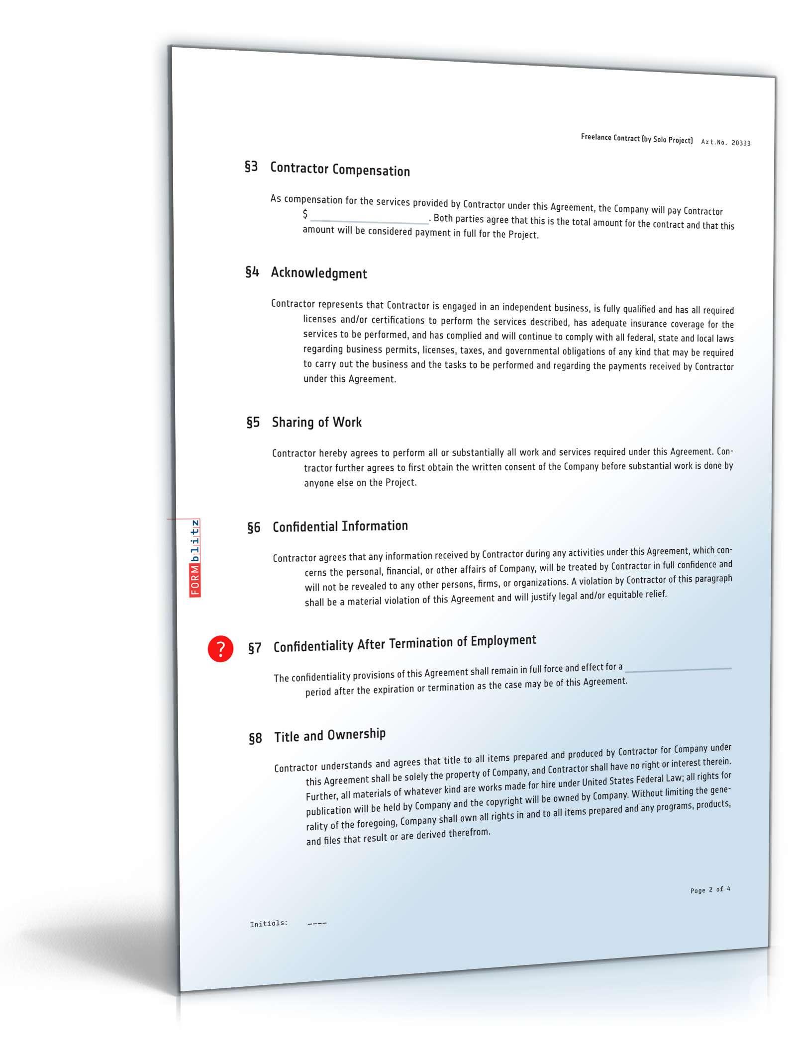 Freier Mitarbeitervertrag Englisch Muster Zum Download