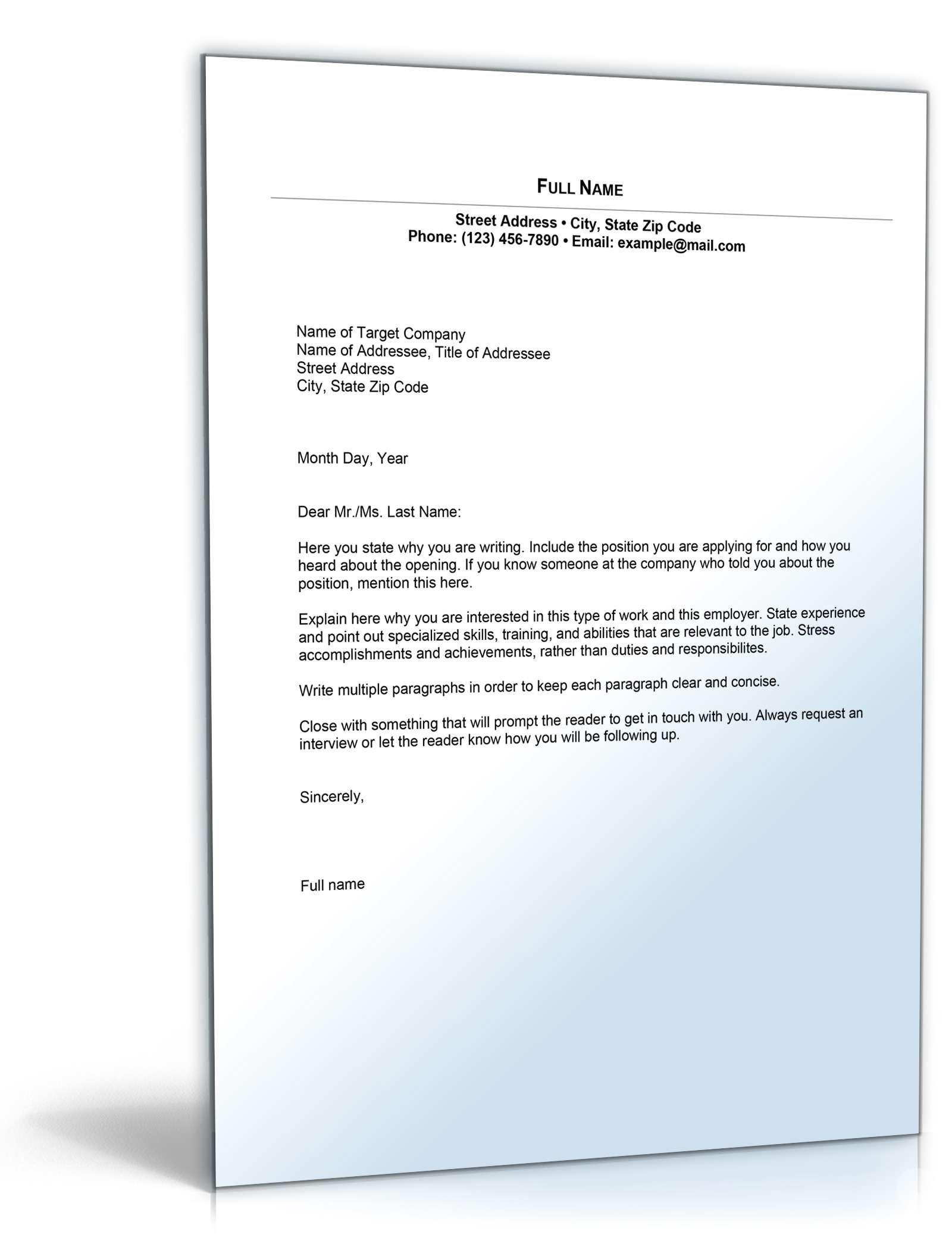 Permalink to Email Cover Letter Sample