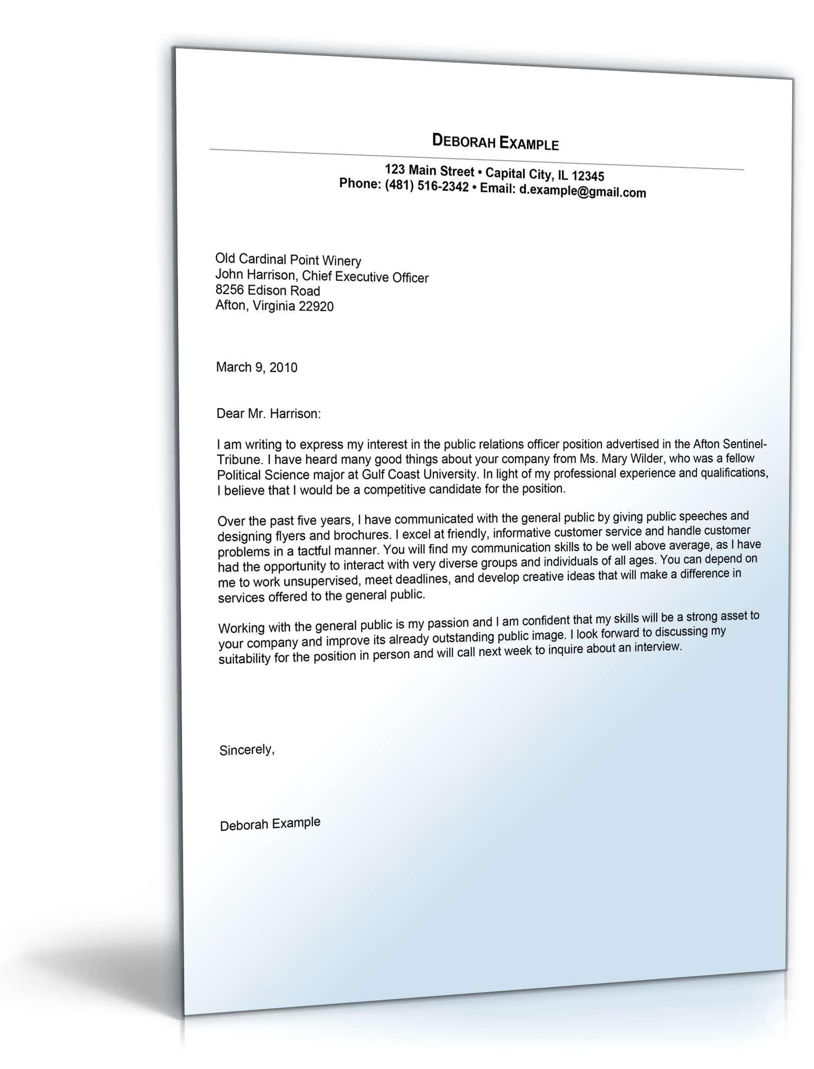 Anschreiben bewerbung pr fachkraft englisch muster zum for Cover letter for public relations position