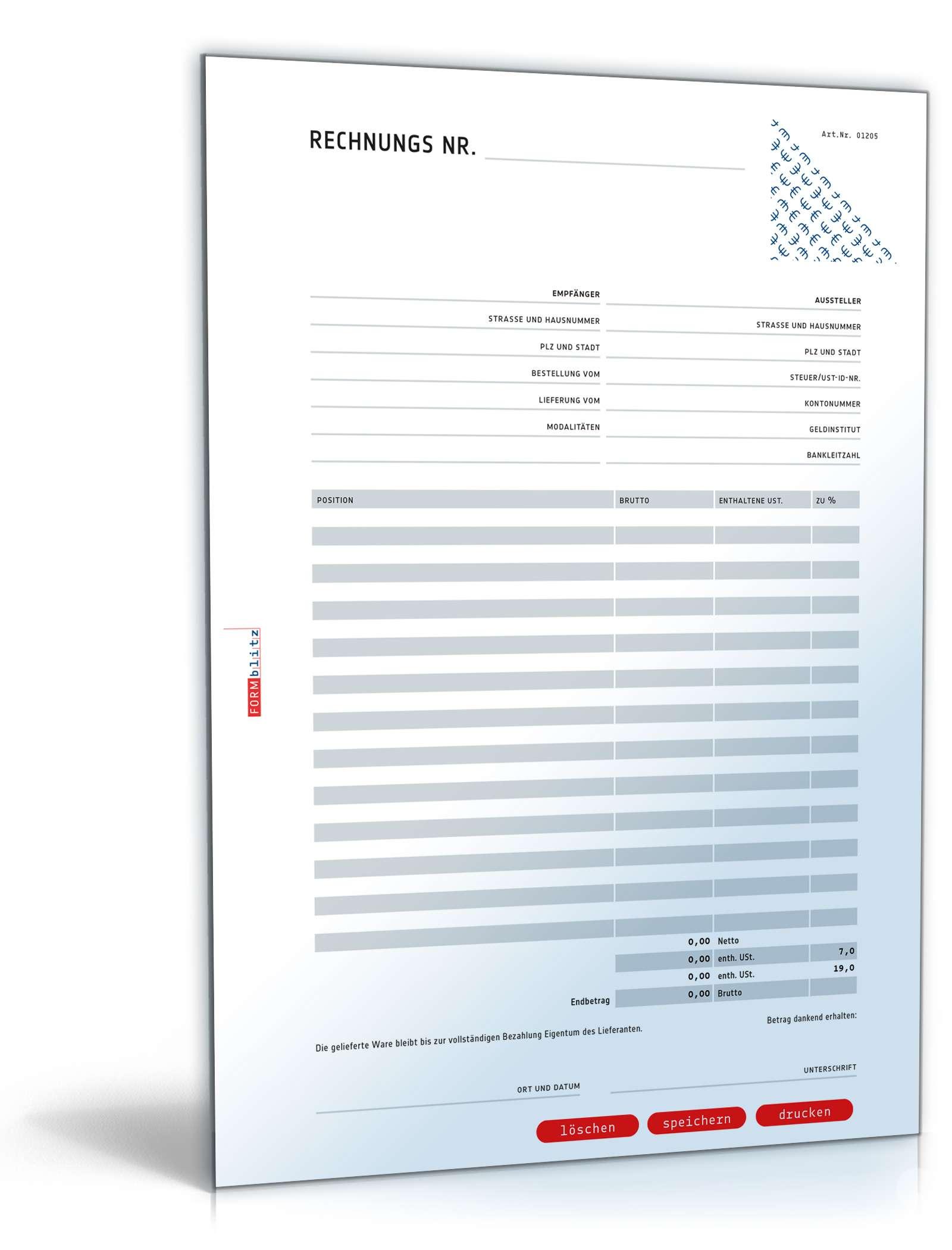 Rechnung Brutto Umsatzsteuer Variabel Vorlage Zum Download