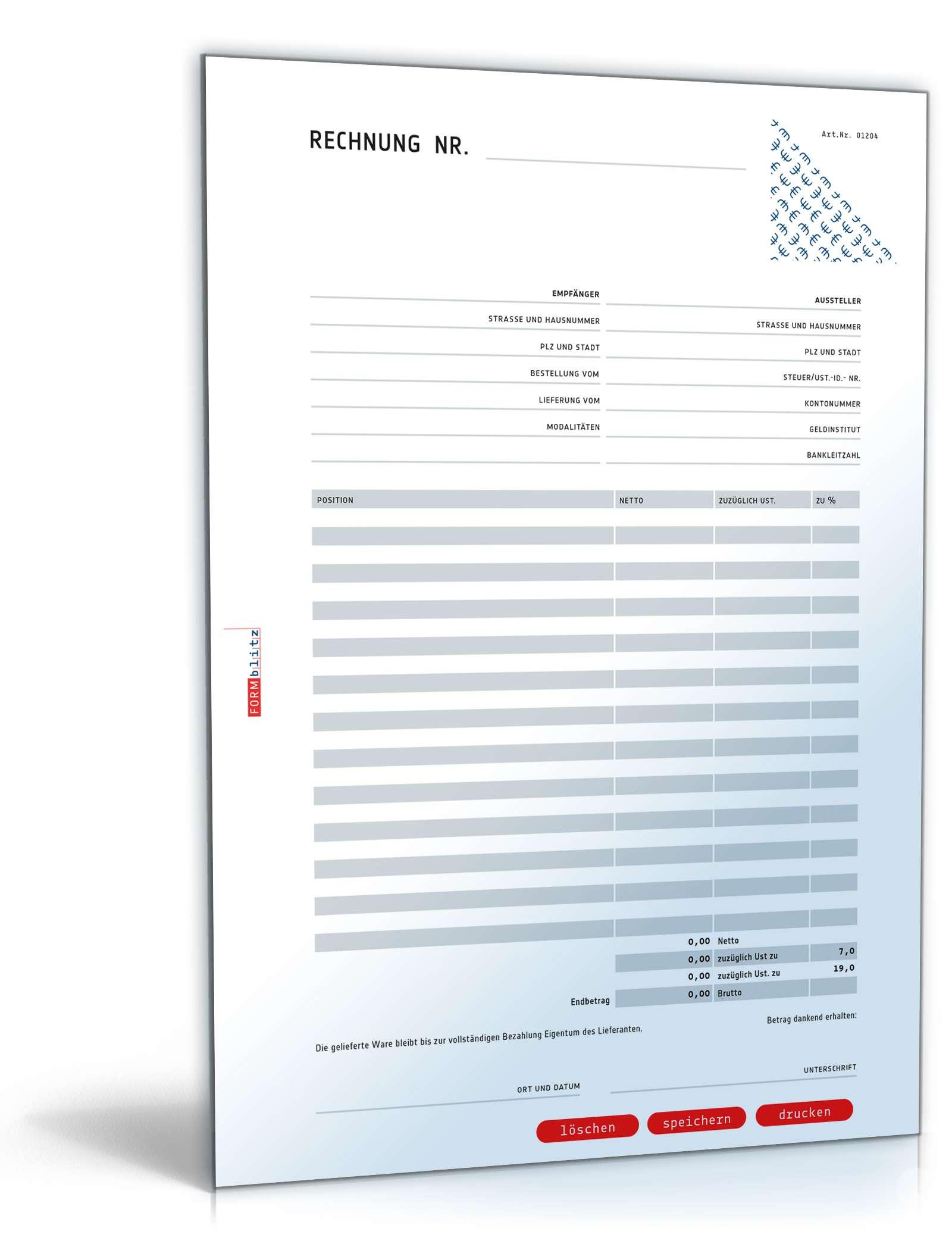 Rechnung Netto Mit Umsatzsteuer Variabel Muster Zum Download