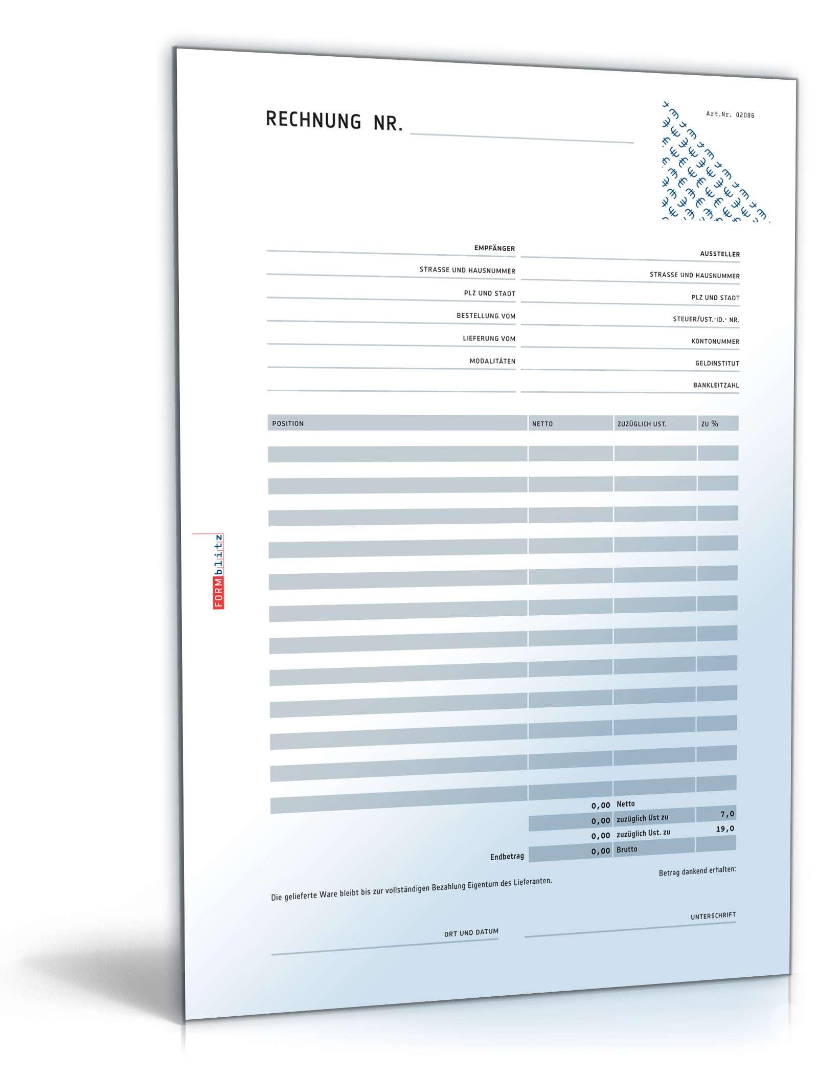 rechnung netto mit berweisungstr ger formular zum download. Black Bedroom Furniture Sets. Home Design Ideas