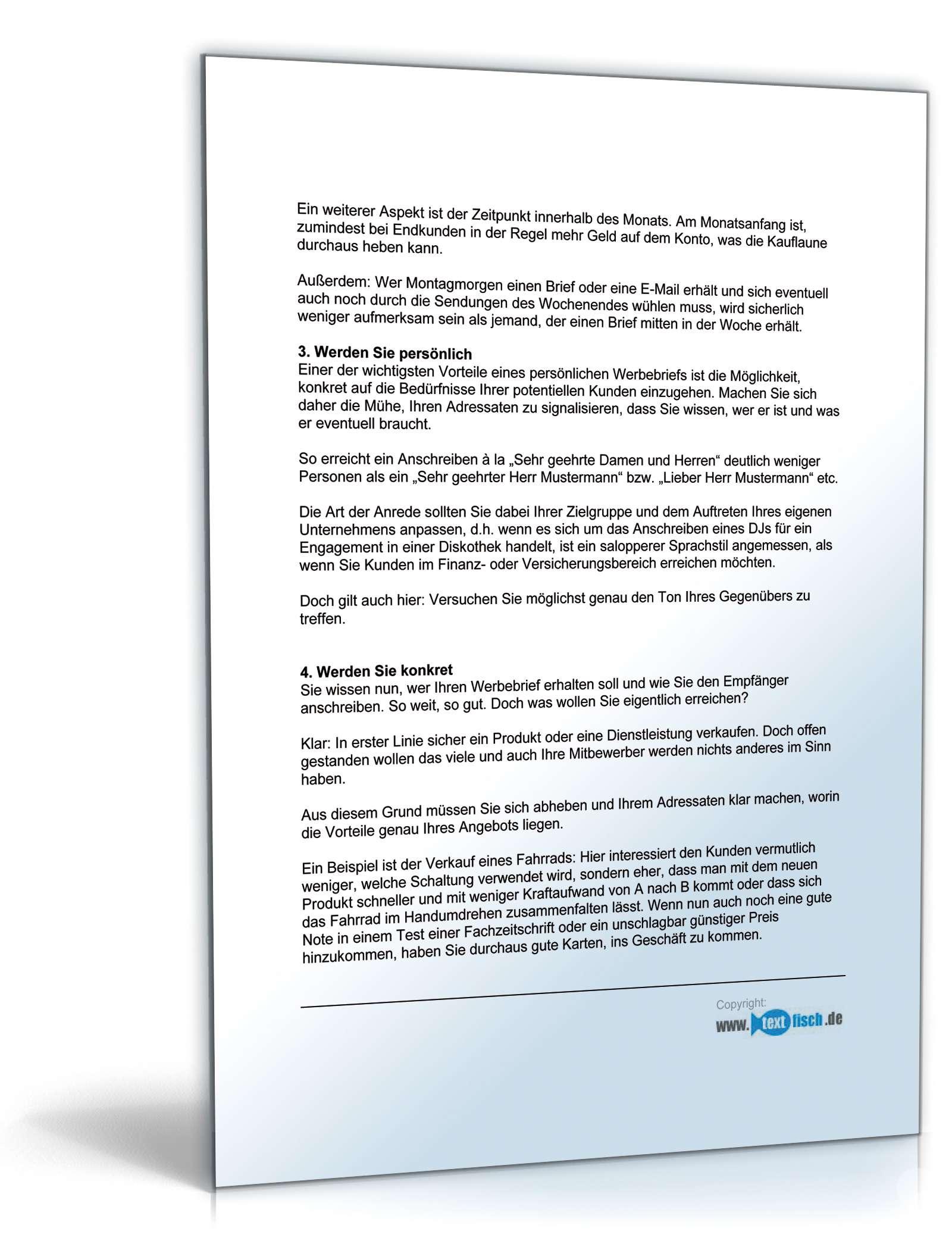 Begleitbrief Zum Werbebrief Unternehmensberatung