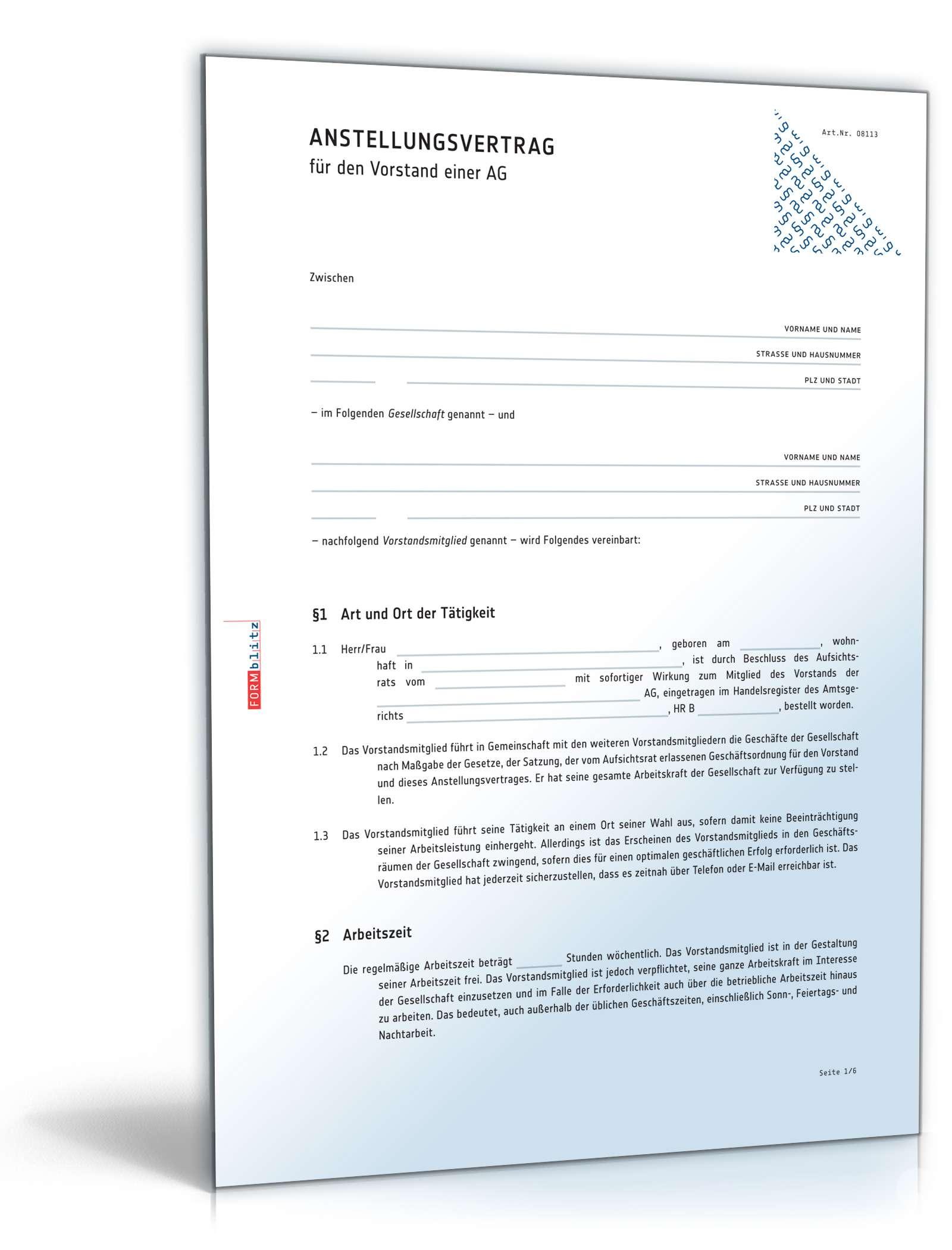 Anstellungsvertrag Vorstand Vertrag Als Muster Zum Download
