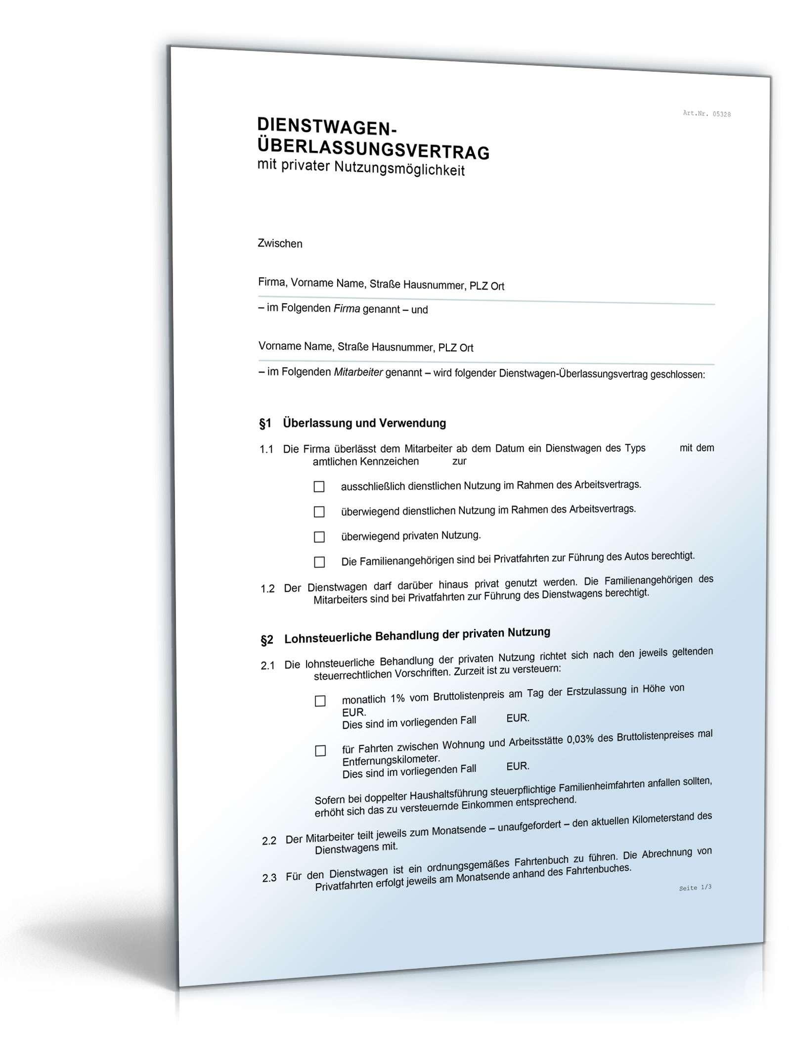 Arbeitsmittel Überlassungsvertrag Homeoffice Dokument zum Download