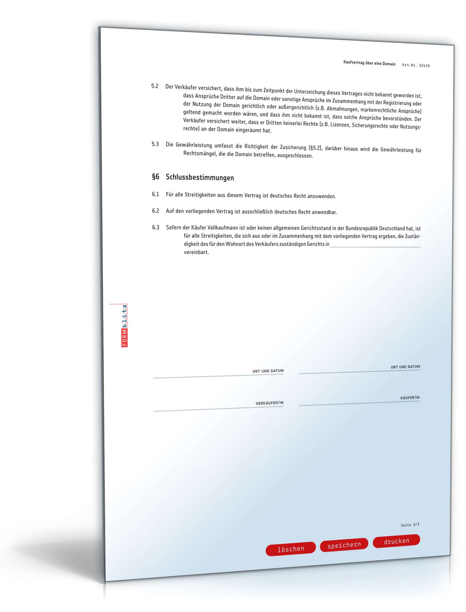 Kaufvertrag Domain Rechtssicheres Muster Zum Download