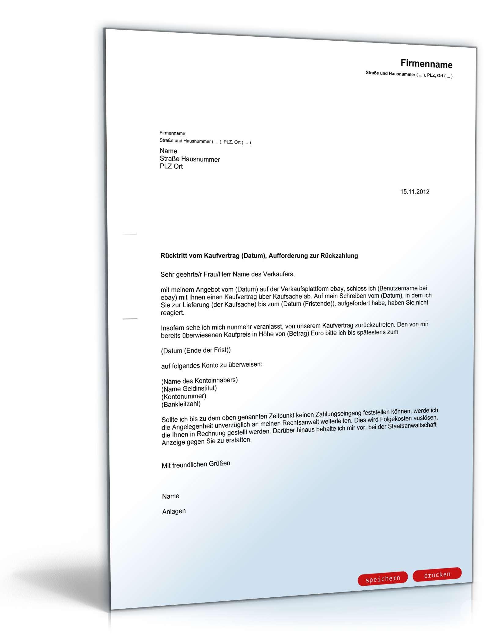 Rücktrittserklärung Aufforderung Kaufpreisrückzahlung
