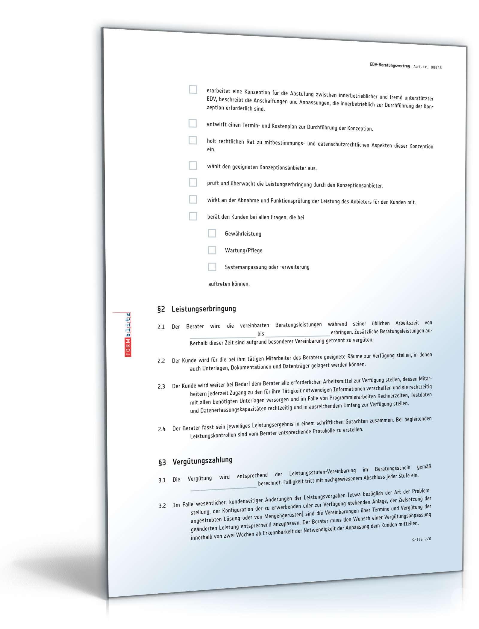 Edv Beratungsvertrag Muster Zum Download