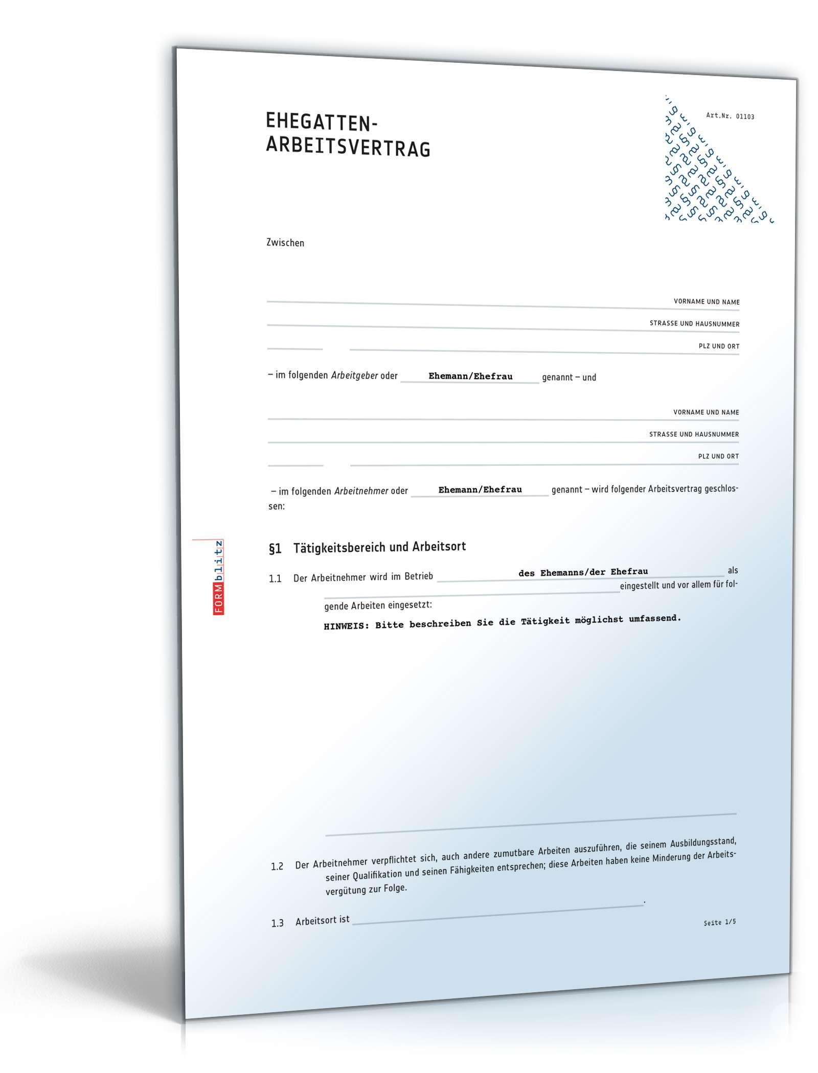 Ehegatten Arbeitsvertrag Anwaltsgeprüftes Muster Zum Download