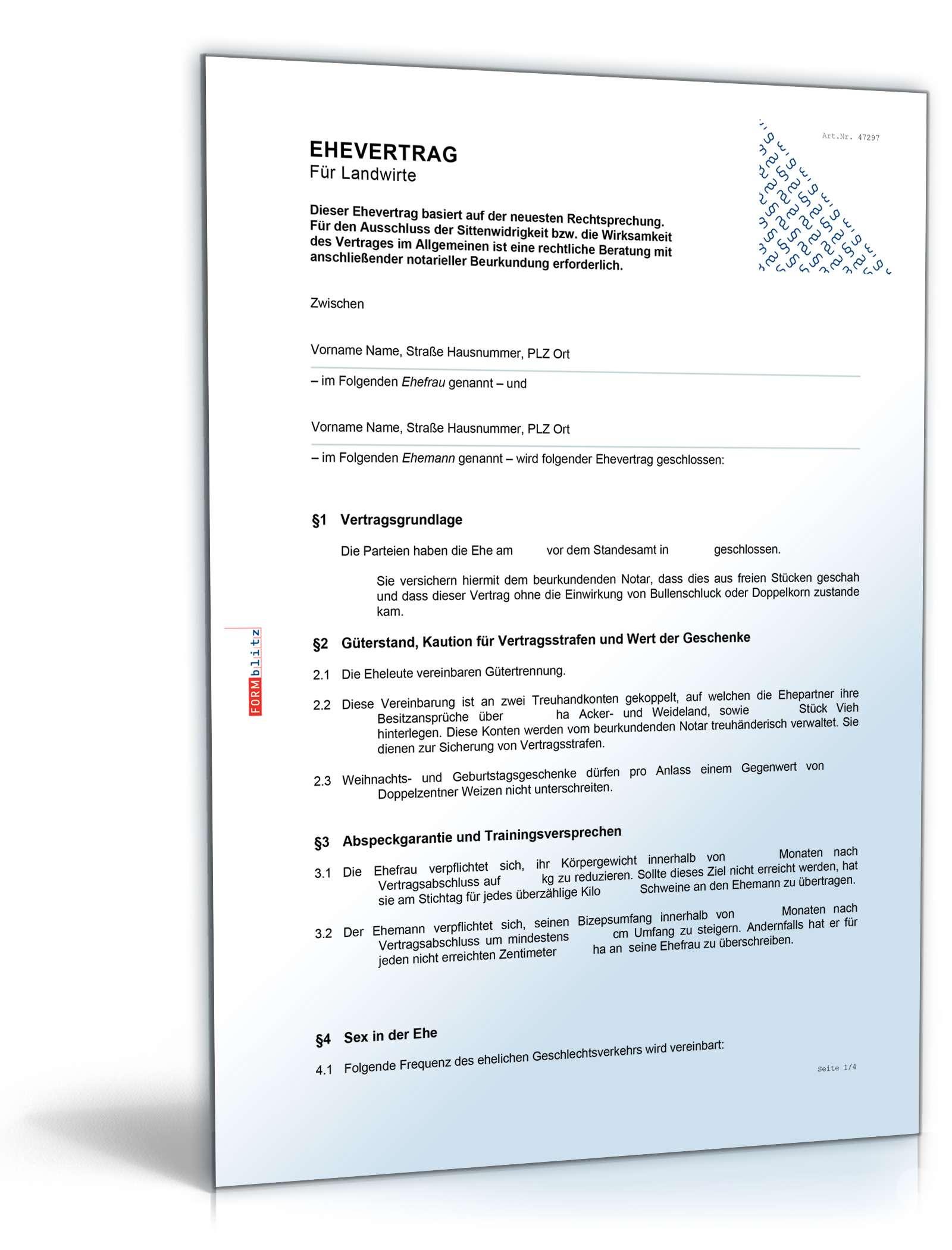 Ehevertrag Landwirte Fun Vertrag Vorlage Zum Download