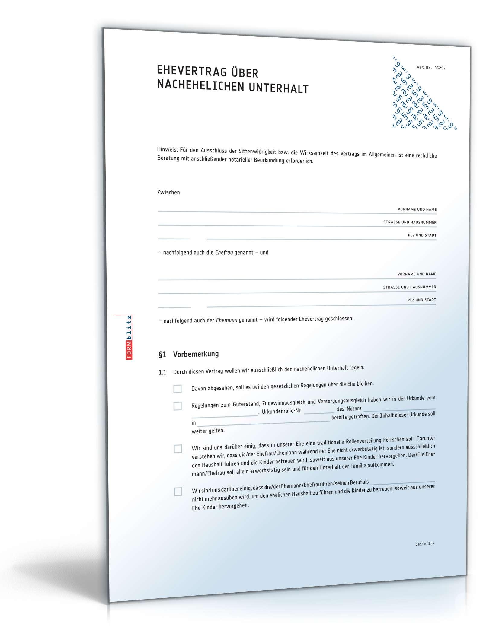 Ehevertrag Nachehelicher Unterhalt Muster Zum Download
