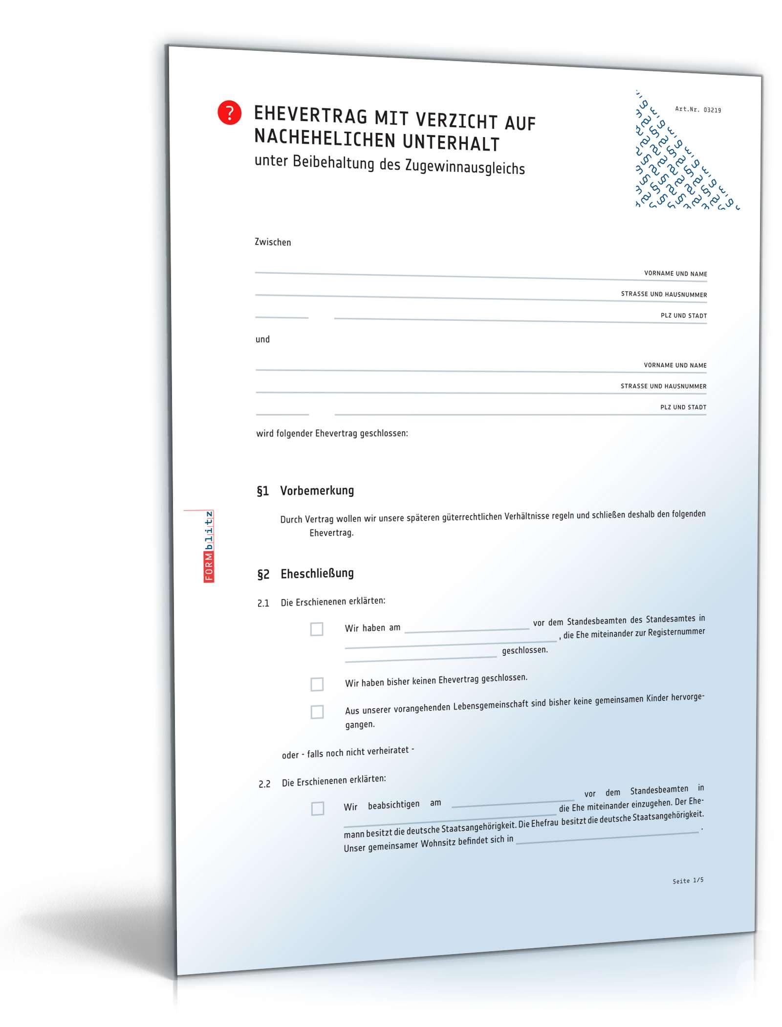 Ehevertrag Verzicht Auf Unterhalt Muster Zum Download