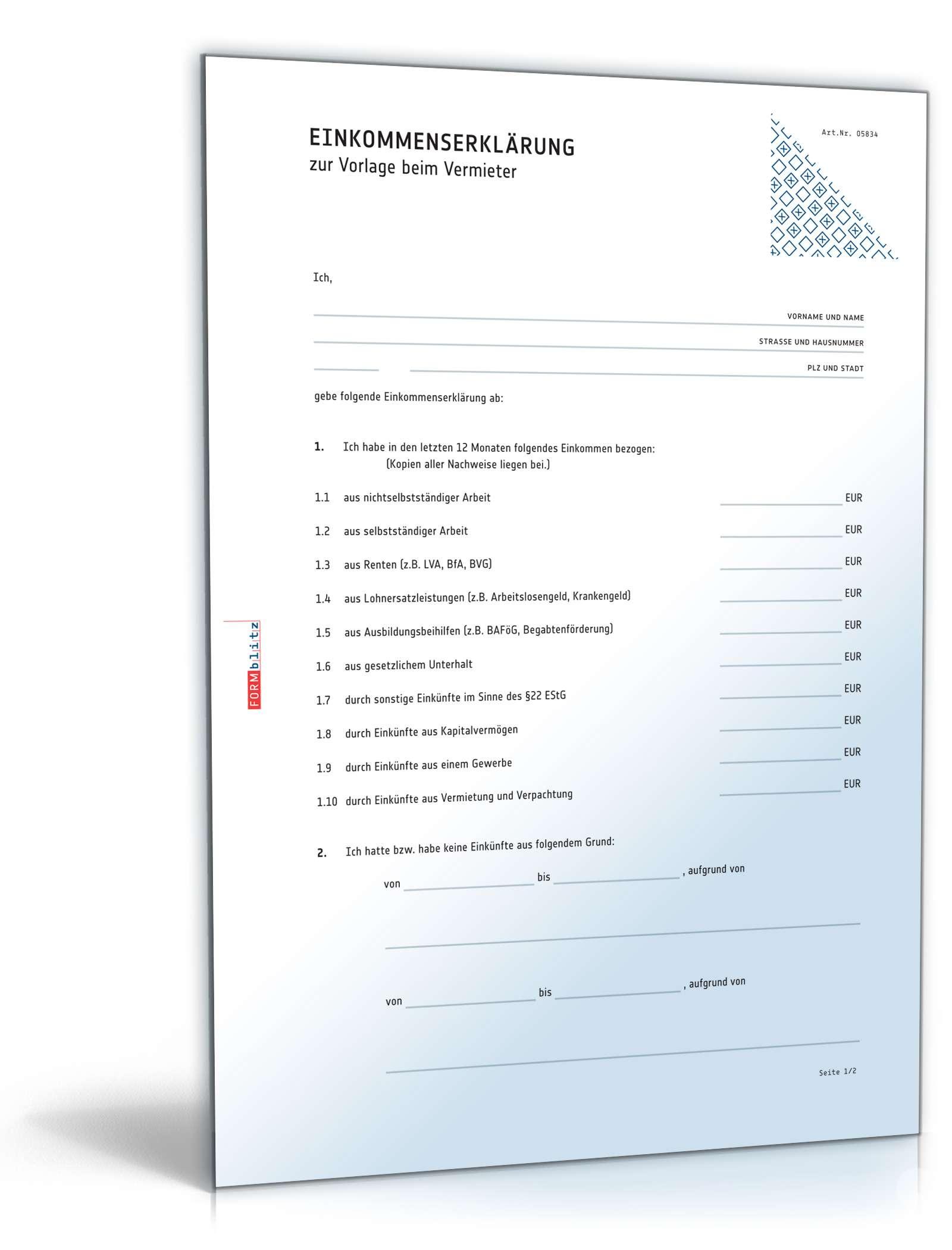 Einkommenserklärung/Selbstauskunft | Muster zum Download