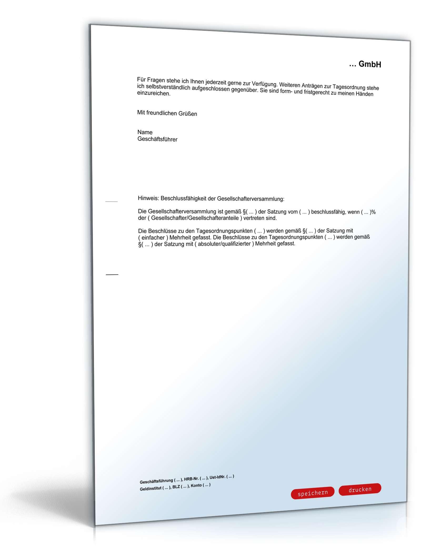 einladung gesellschafterversammlung gmbh & ug: muster zum download, Einladung