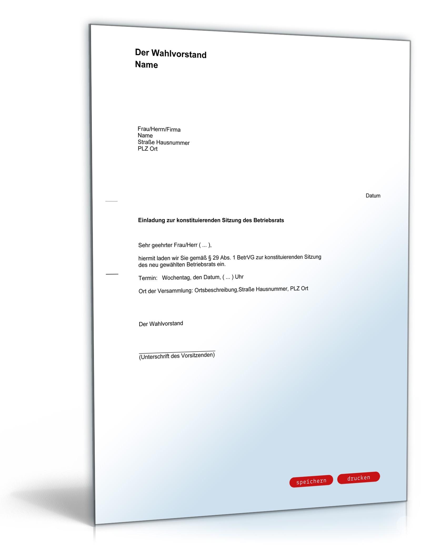 einladung konstituierende sitzung betriebsrat, Einladung