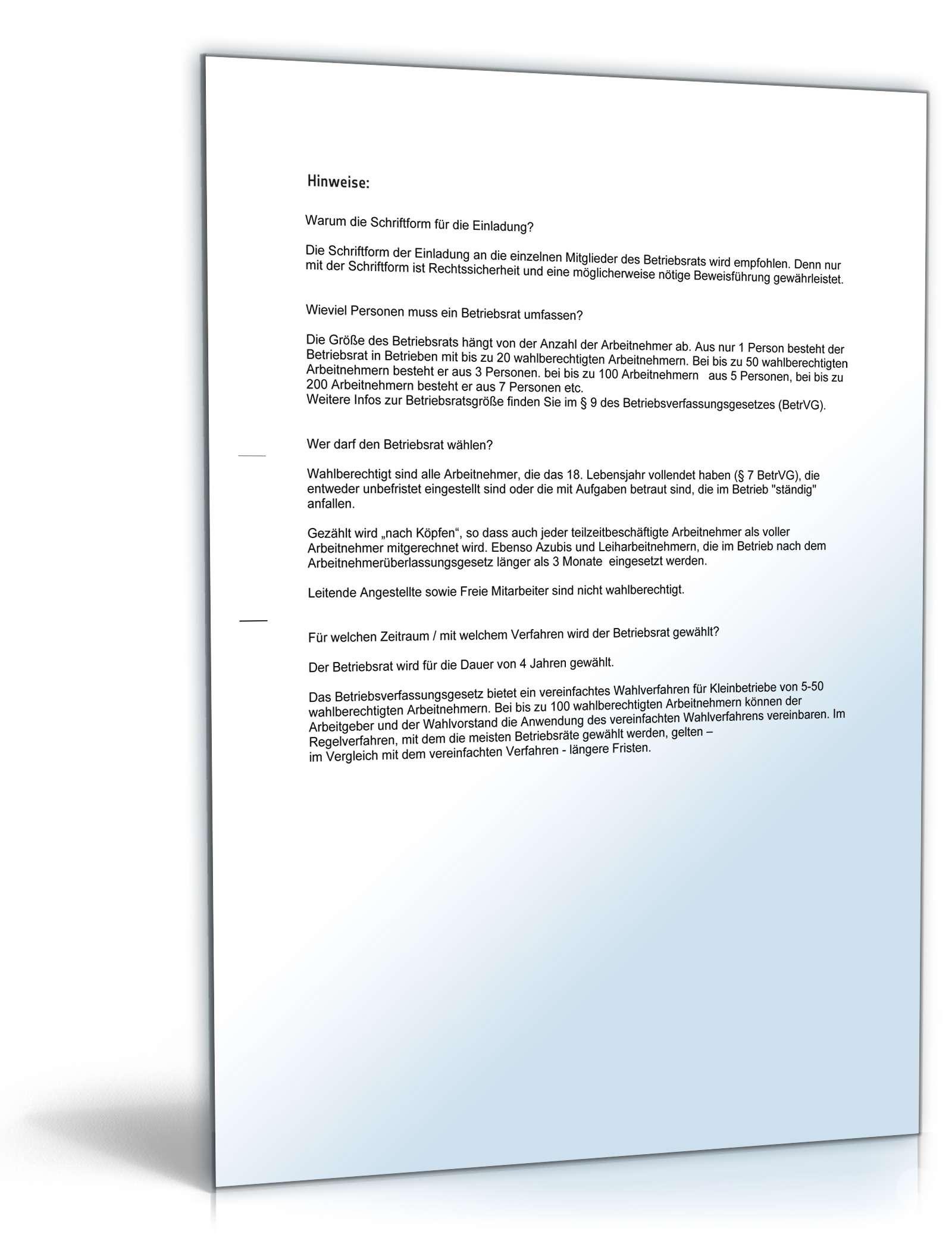 Musterbriefe Geschäftsbriefe : Einladung konstituierende sitzung betriebsrat