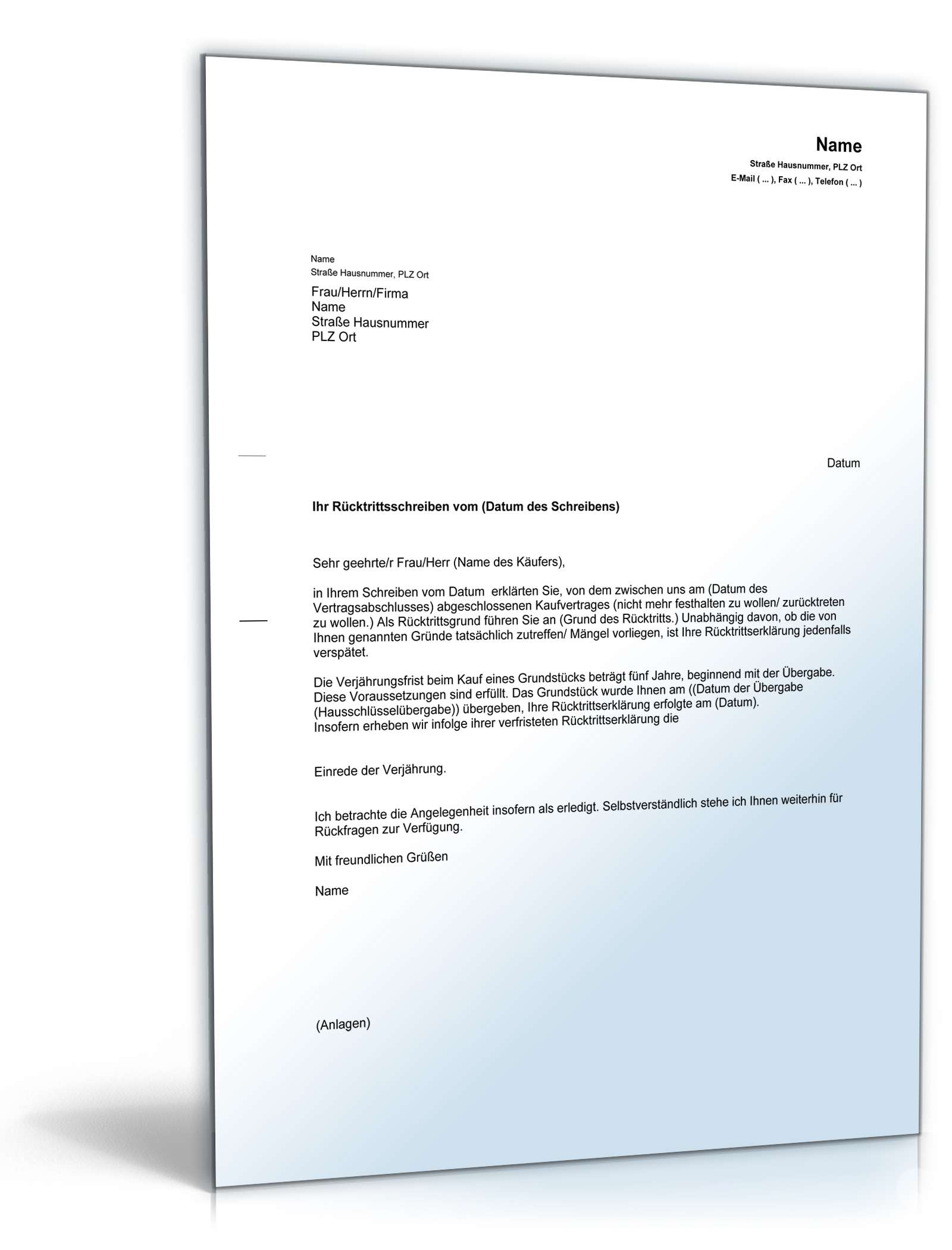 Einrede der Verjährung (Grundstückskauf) - Muster-Vorlage zum Download