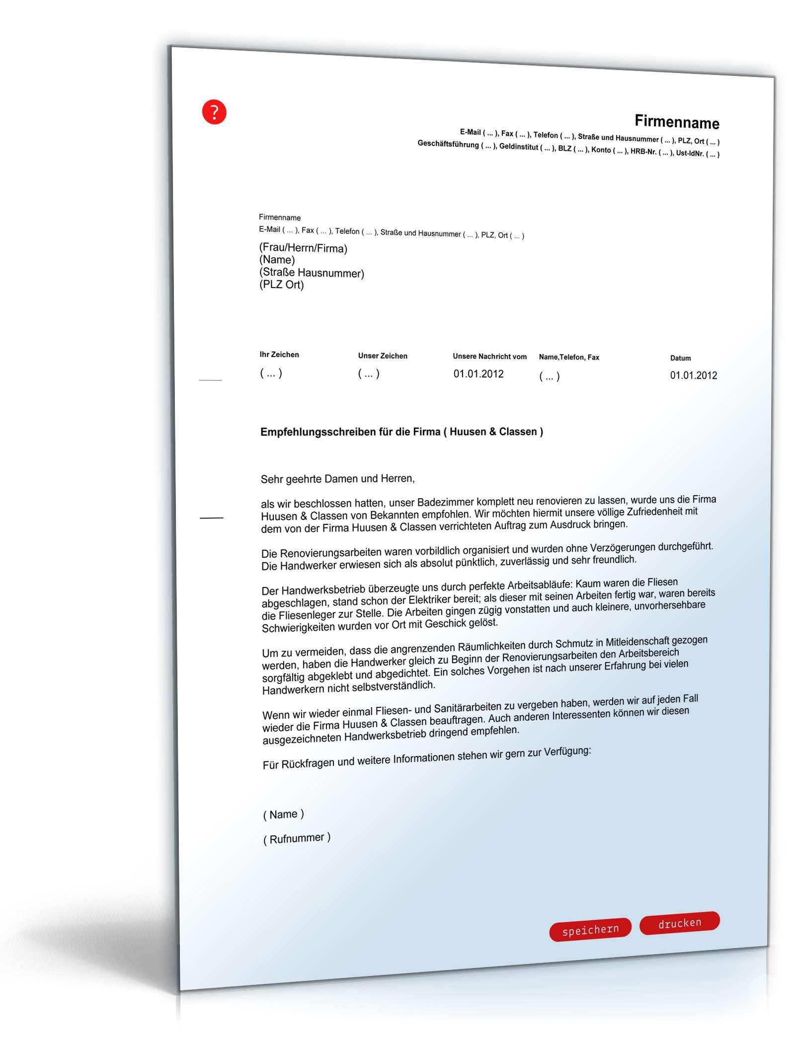 Empfehlungsschreiben Handwerkerbetrieb | Muster zum Download