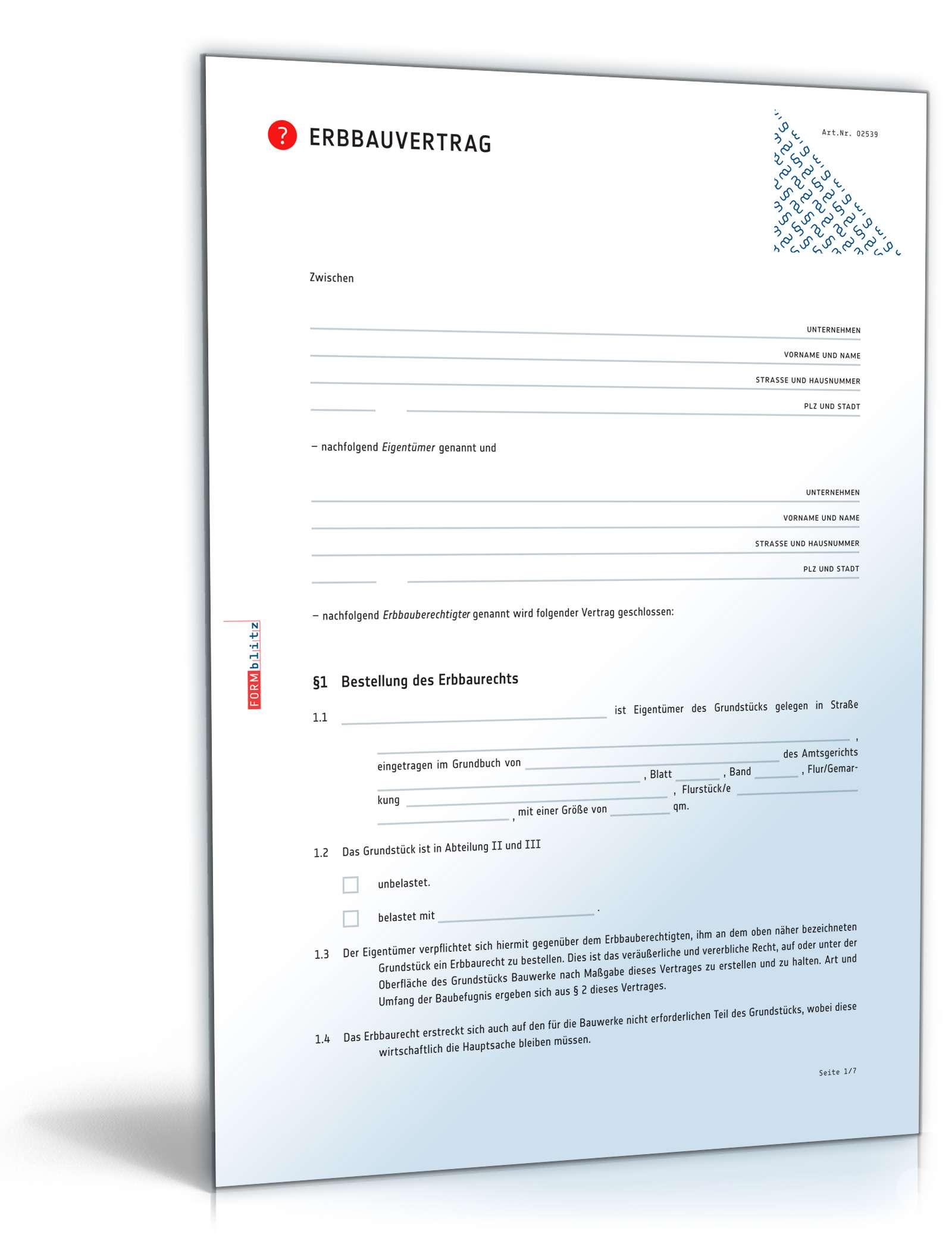 Musterbriefe Notar : Erbbauvertrag anwaltsgeprüftes muster zum download
