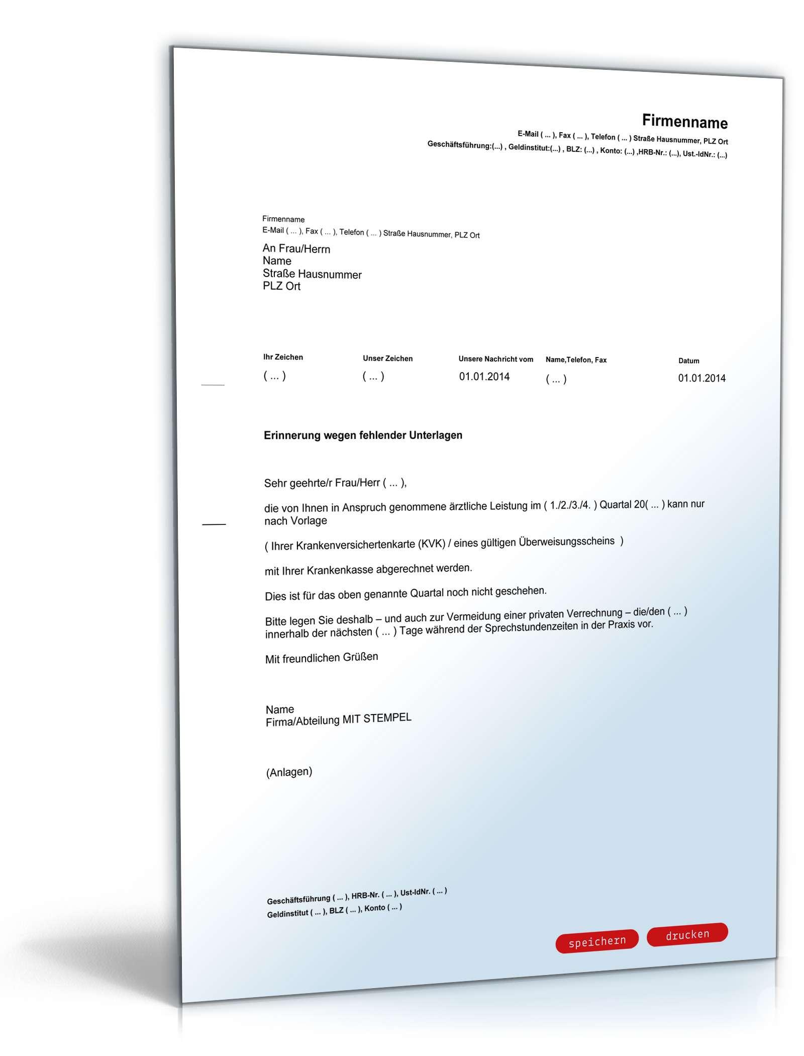 Aufforderung Krankenversichertenkarte nachzureichen | Vorlage zum Download
