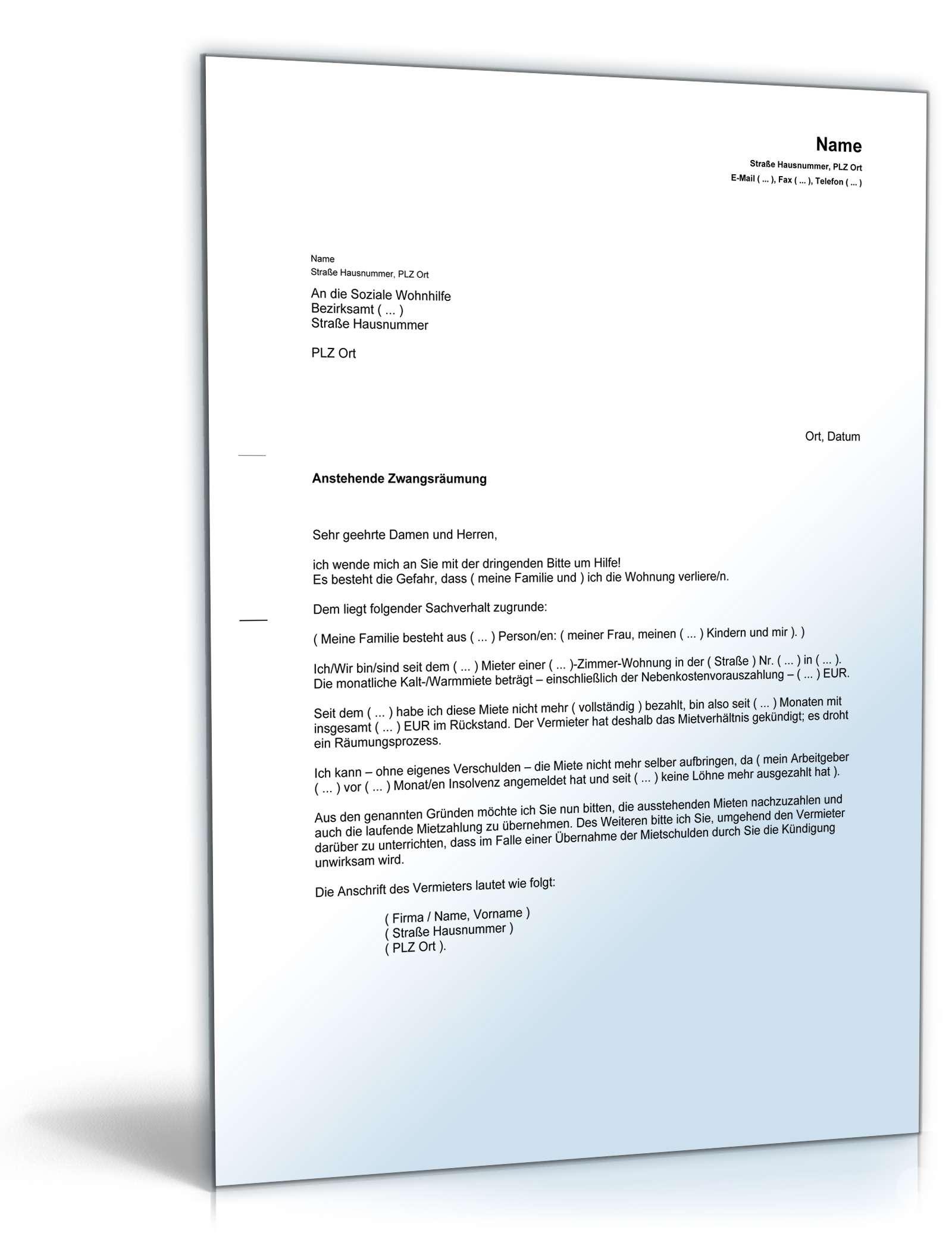 Erklarung Notlage Bei Wohnungsraumung Muster Zum Download