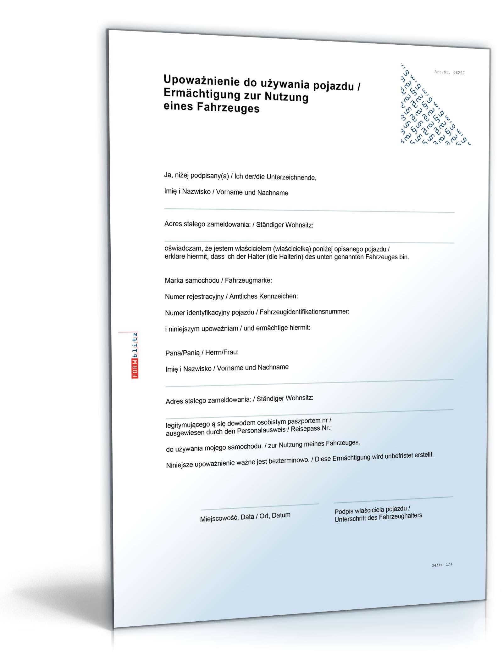Ermächtigung Fahrzeugnutzung Polen | Muster zum Download