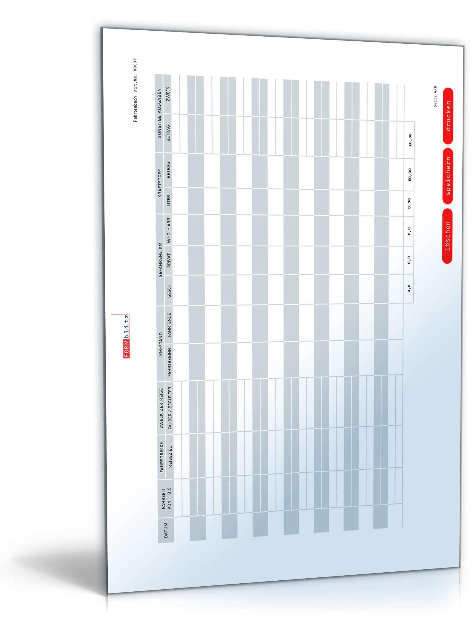 Fahrtenbuch Editierbare Vorlage Zum Download Als Pdf Excel