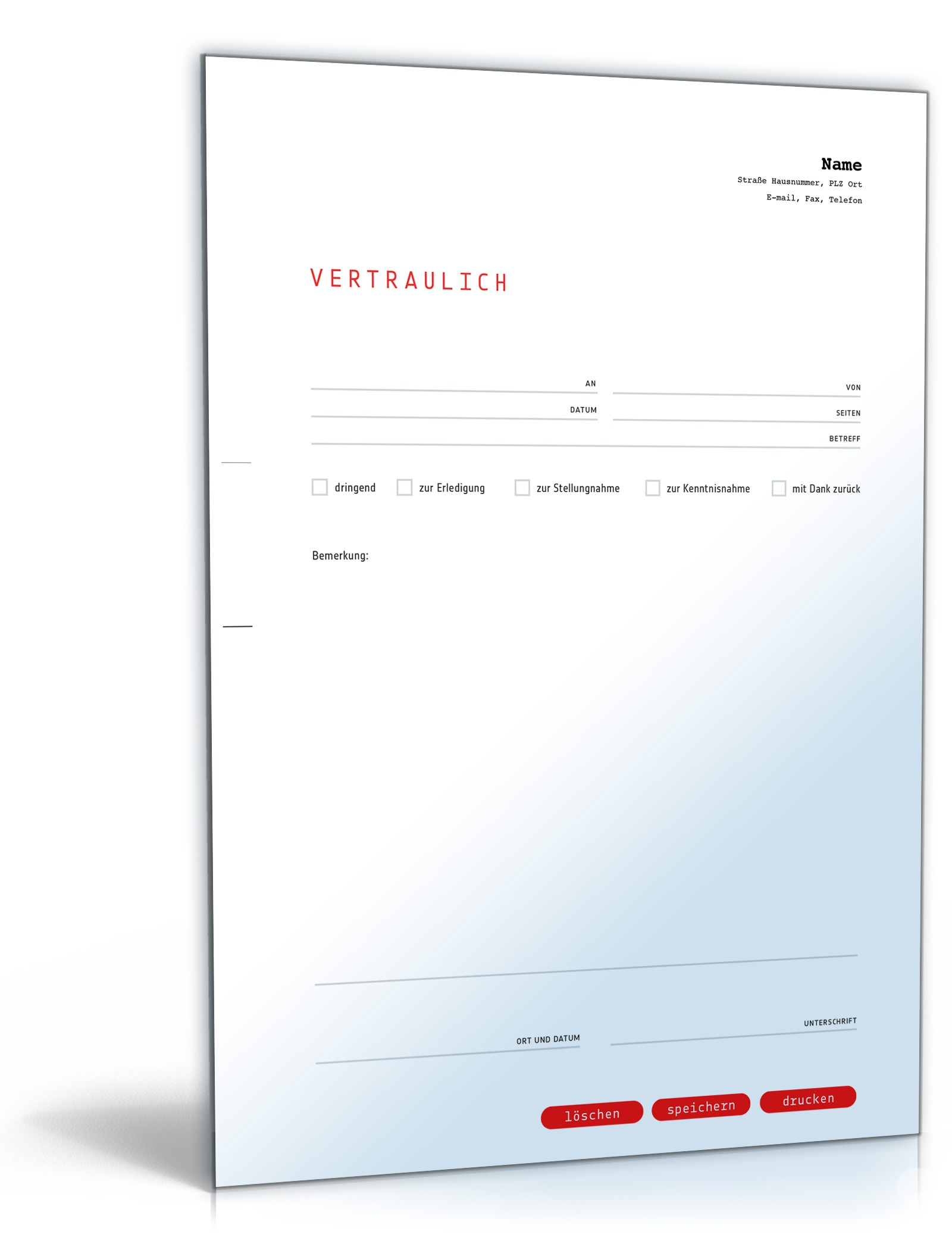 Faxvorlage vertraulich | Muster zum Download