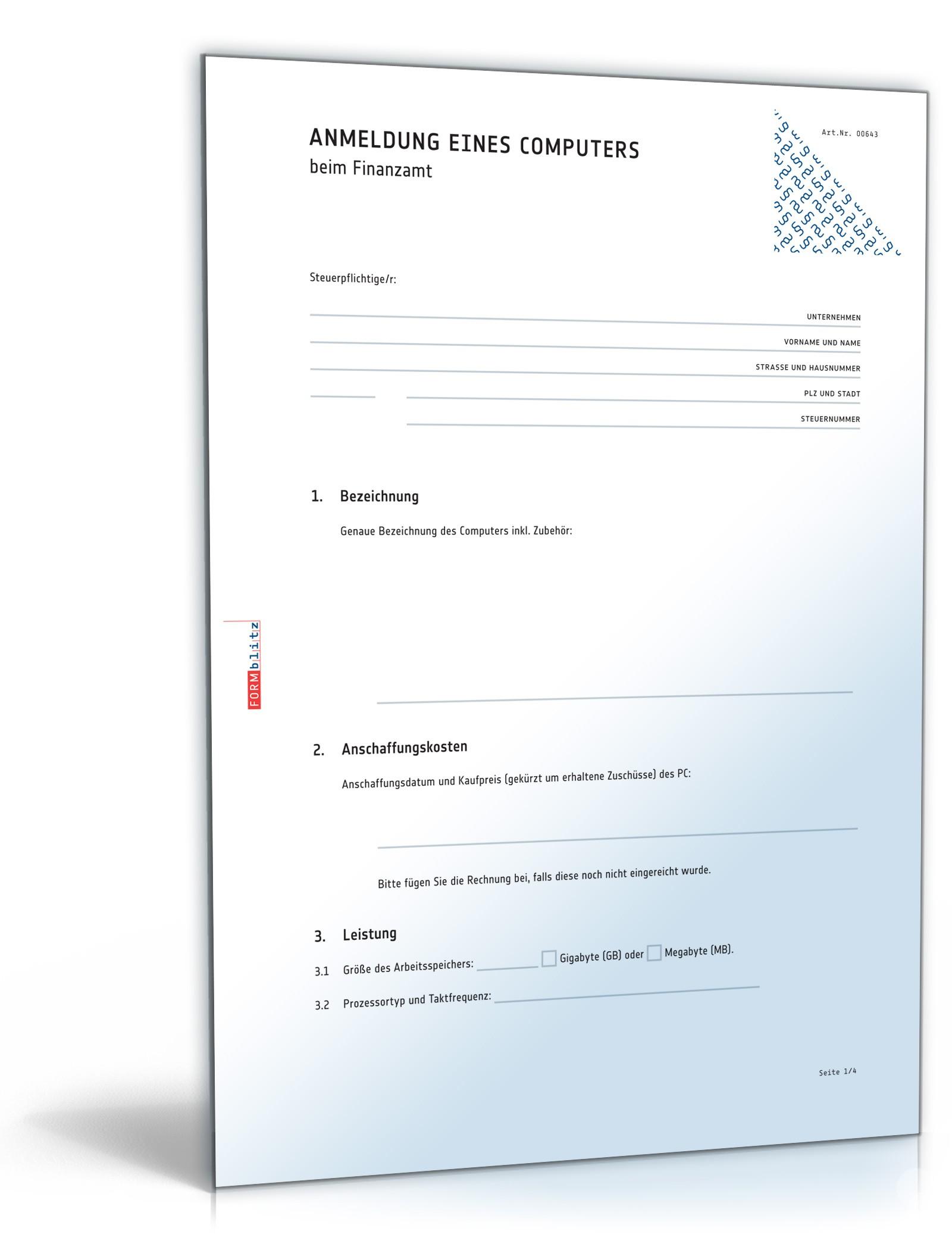 Anmeldung eines Computers beim Finanzamt   Vorlage zum Download