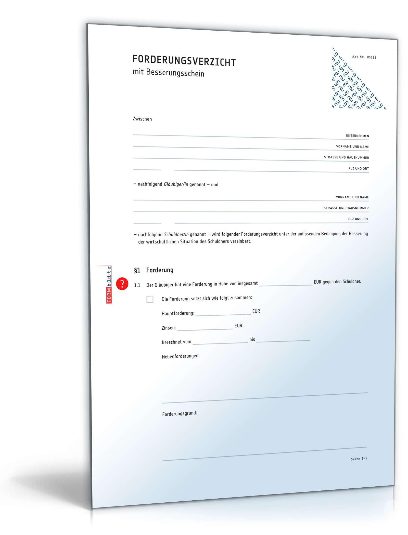 Musterbriefe Gläubiger : Forderungsverzicht mit besserungsschein vorlage zum download