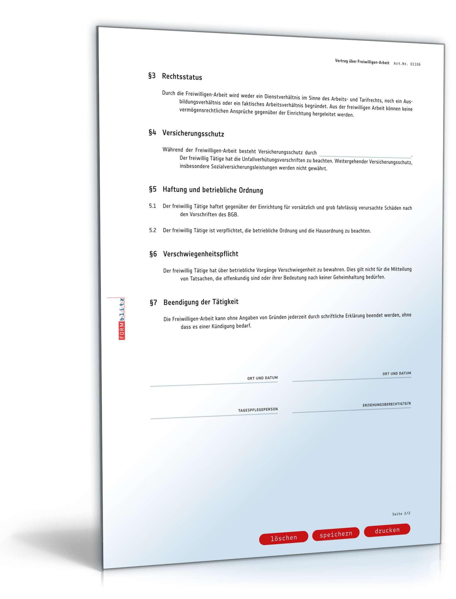 Ehrenamtsvertragvertrag Freiwilligen Arbeit Muster Zum Download