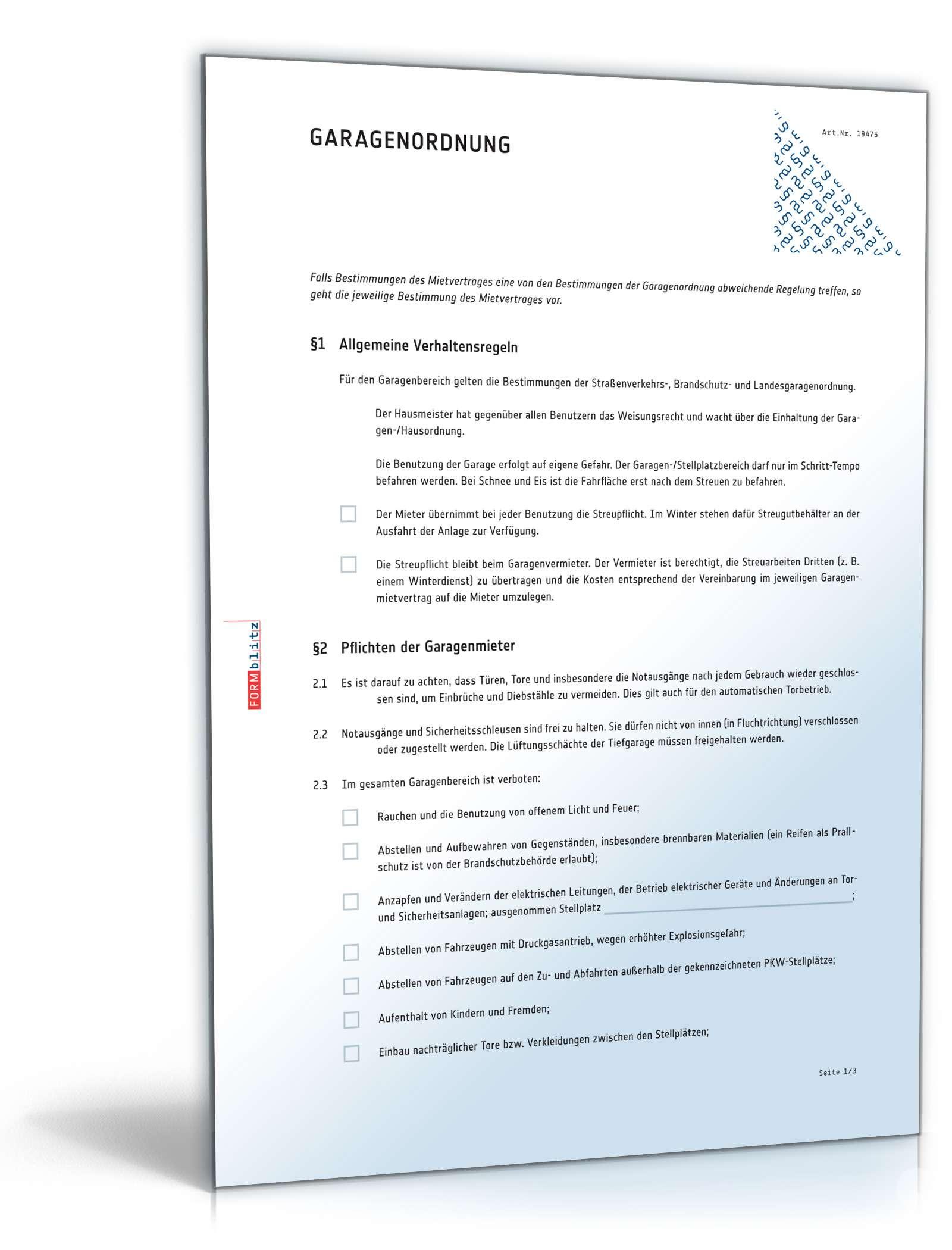Garagenordnung Als Anhang Zum Garagenmietvertrag Muster Download