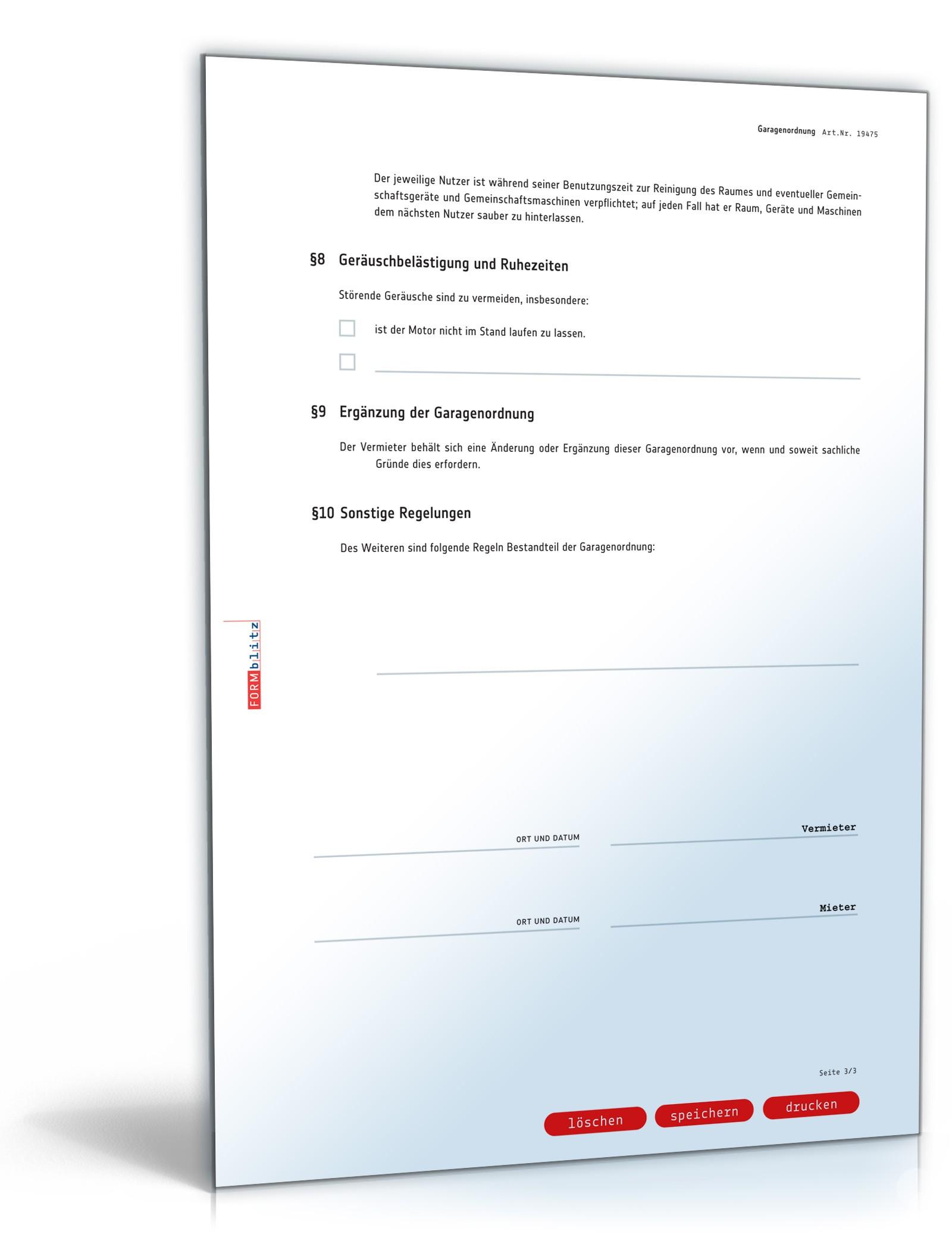 Garagenordnung Als Anhang Zum Garagenmietvertrag Muster Zum Download