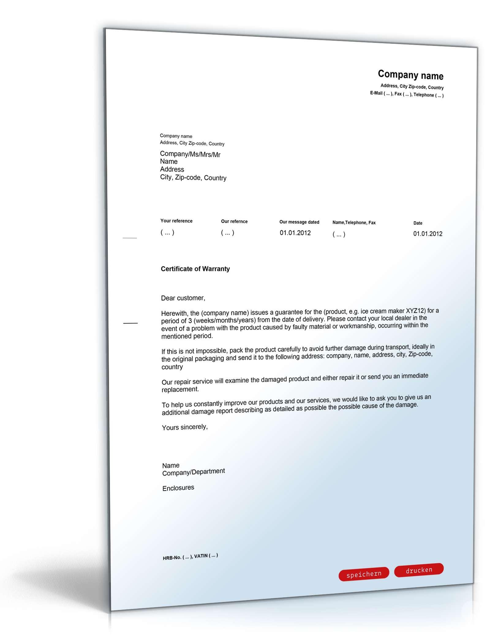 Garantieerklärung Englischdeutsch Vorlage Zum Download