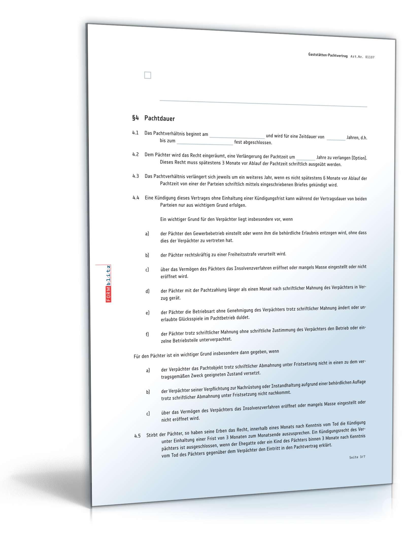 gaststaetten pachtvertrag vorlage - Kundigung Pachtvertrag Muster