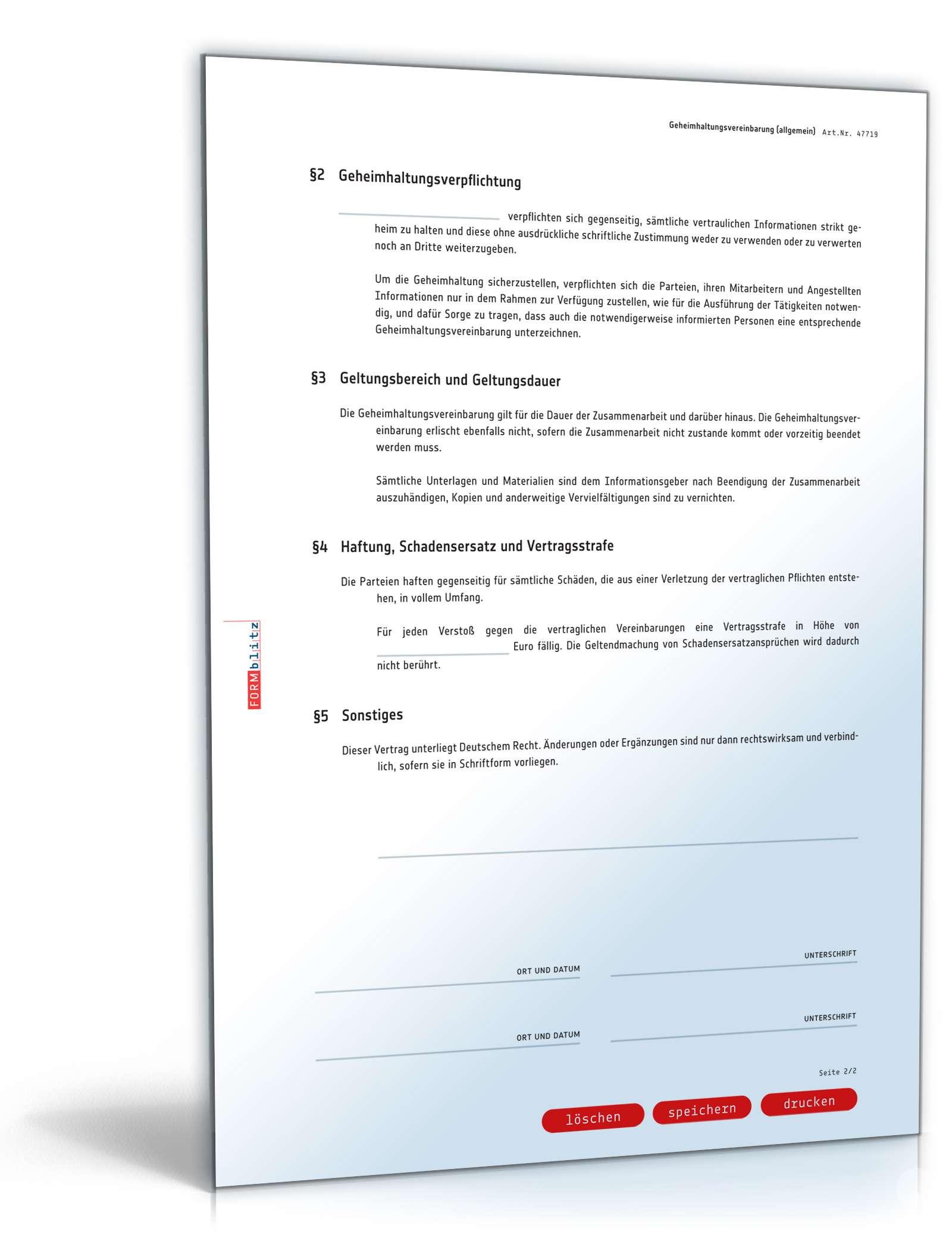 Geheimhaltungsvereinbarung Kooperationen Als Muster Downloaden