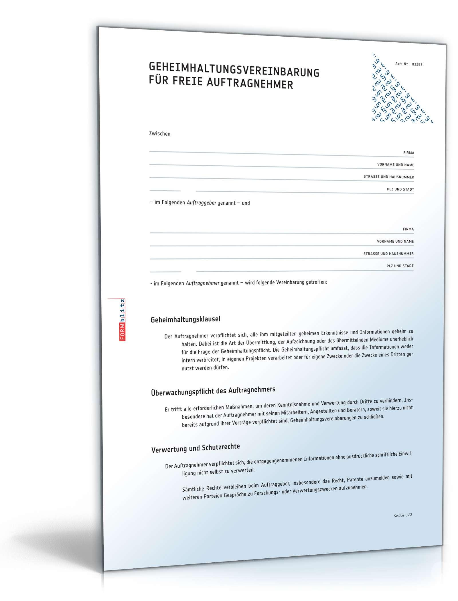 Geheimhaltungsvereinbarung freie Auftragnehmer | Muster zum Download