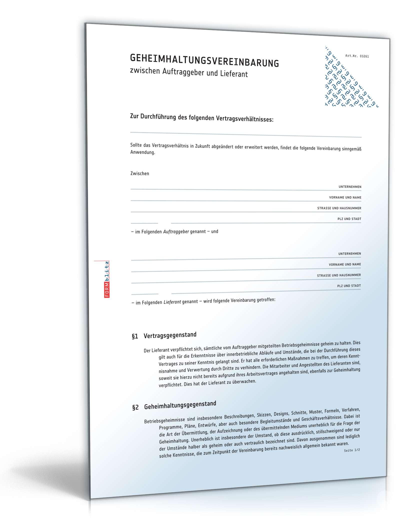 Geheimhaltungsvereinbarung mit Lieferant | Vorlage zum Download
